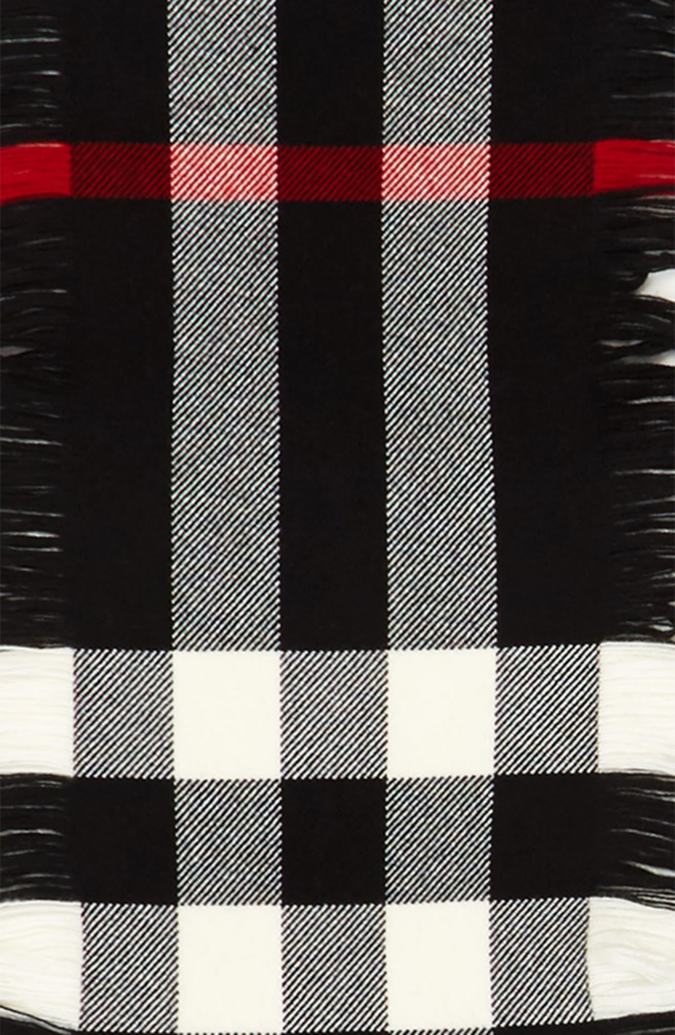Half Mega Fashion Wool Fringe Scarf,                             Alternate thumbnail 4, color,                             BLACK