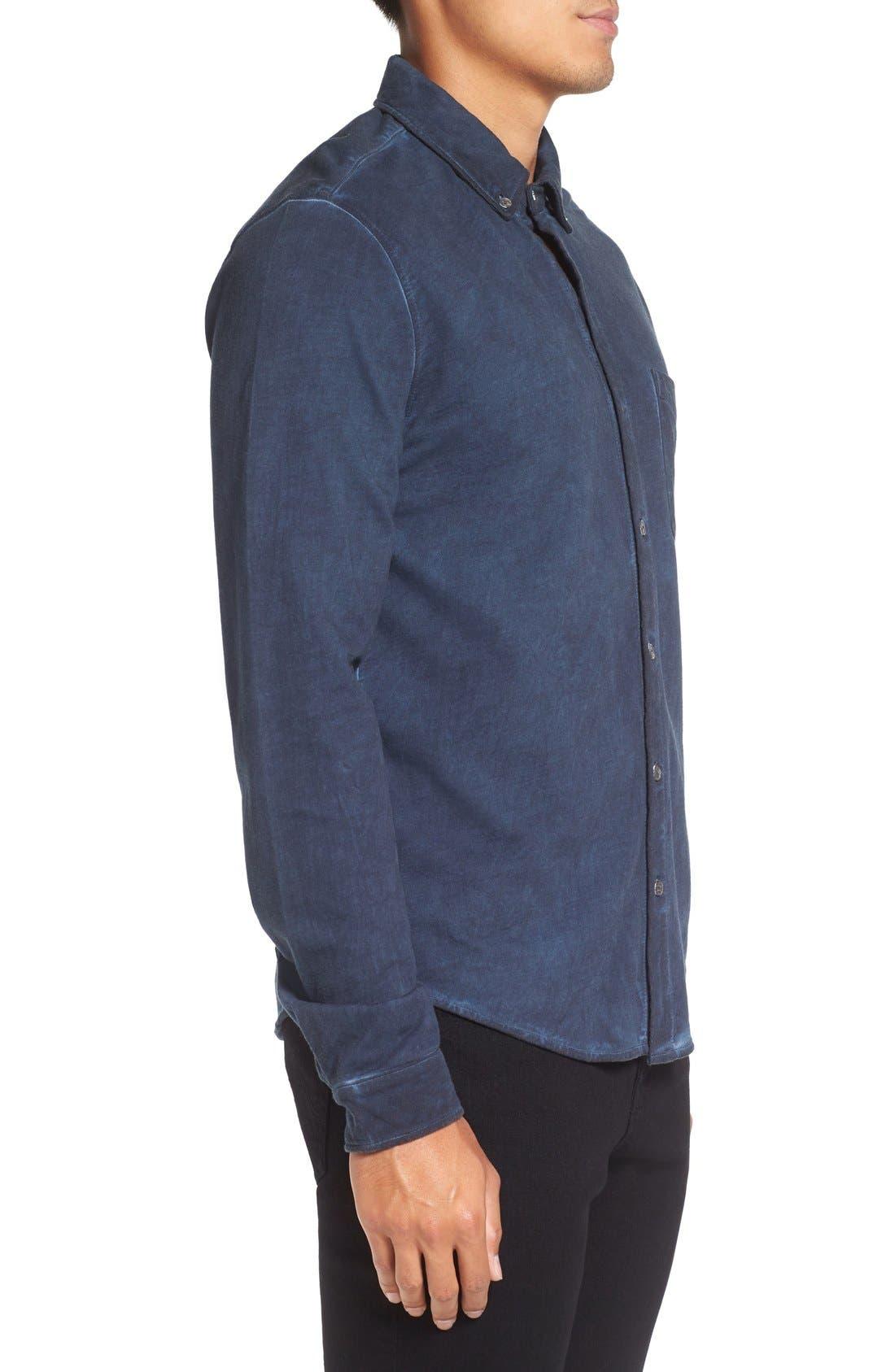 Slim Fit Garment Washed Sport Shirt,                             Alternate thumbnail 4, color,                             410