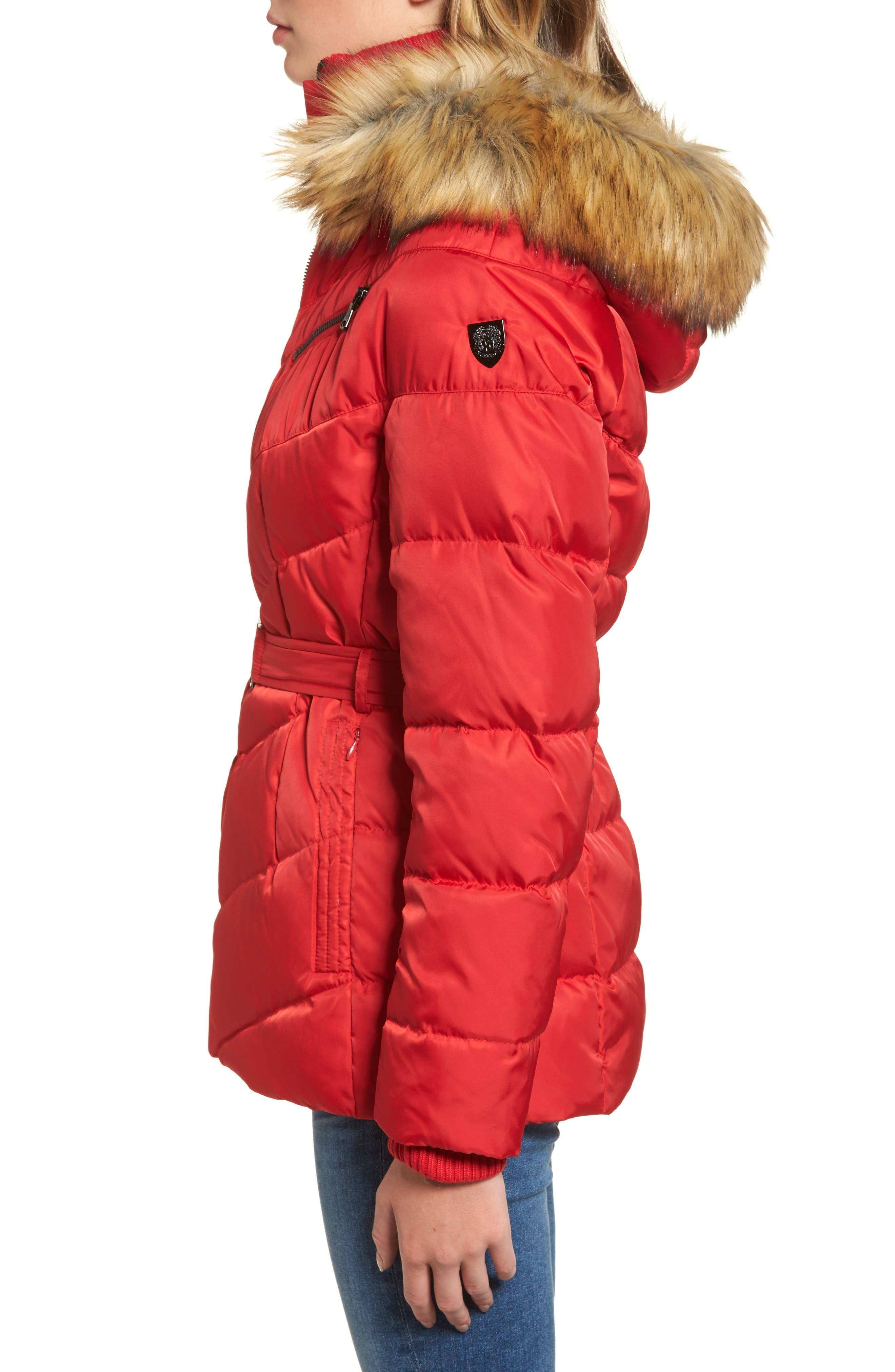 Belted Down & Feather Fill Coat with Faux Fur Trim Hood,                             Alternate thumbnail 12, color,
