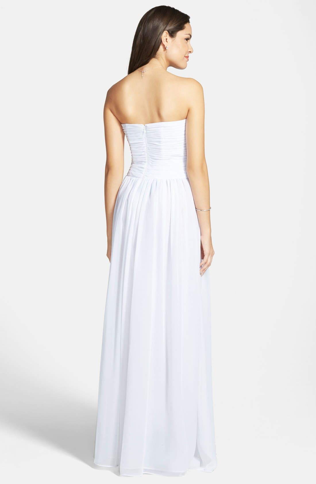 Strapless Ruched Chiffon Gown,                             Alternate thumbnail 28, color,