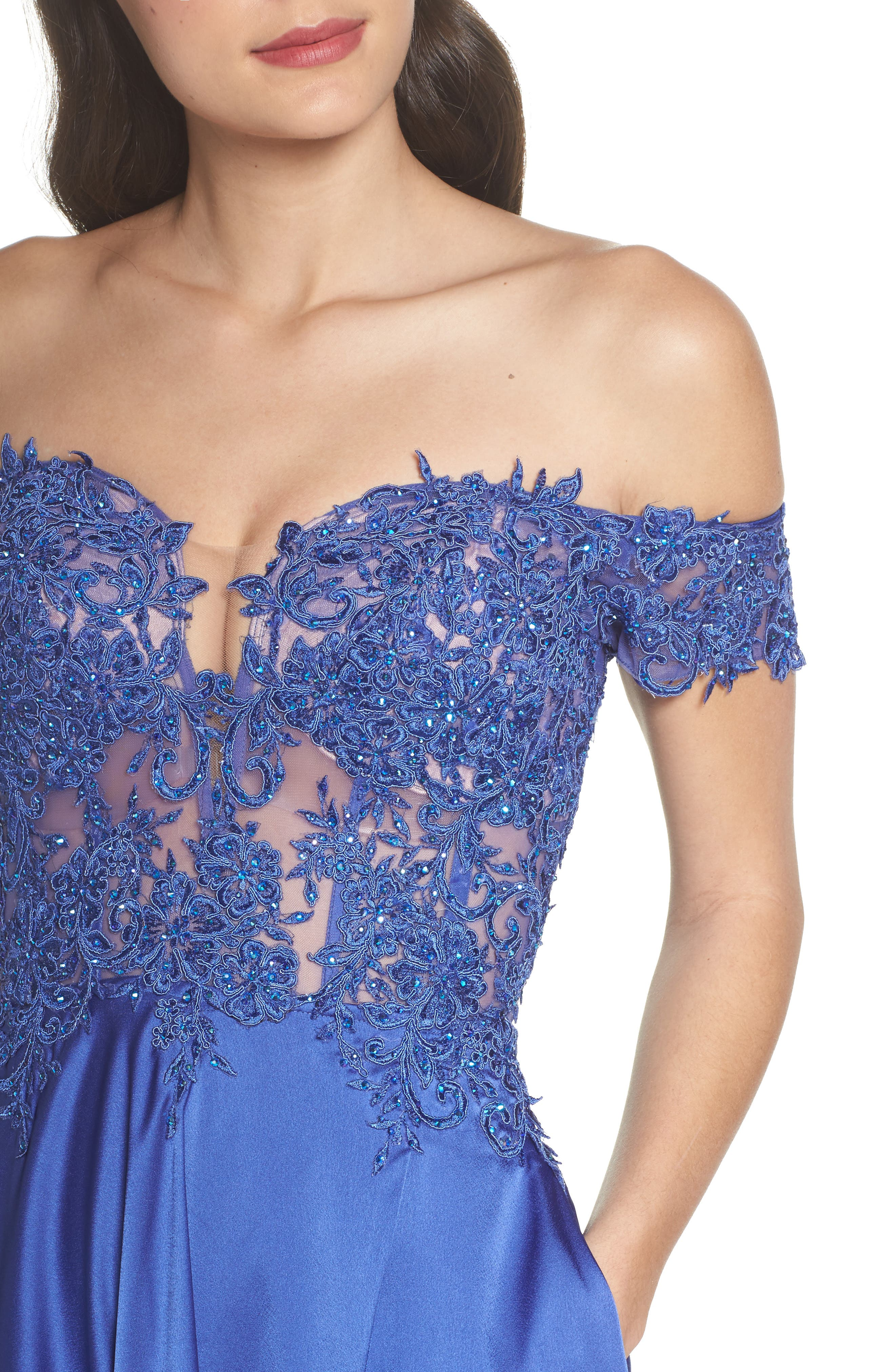 Embroidered Off the Shoulder Satin A-Line Gown,                             Alternate thumbnail 4, color,                             400