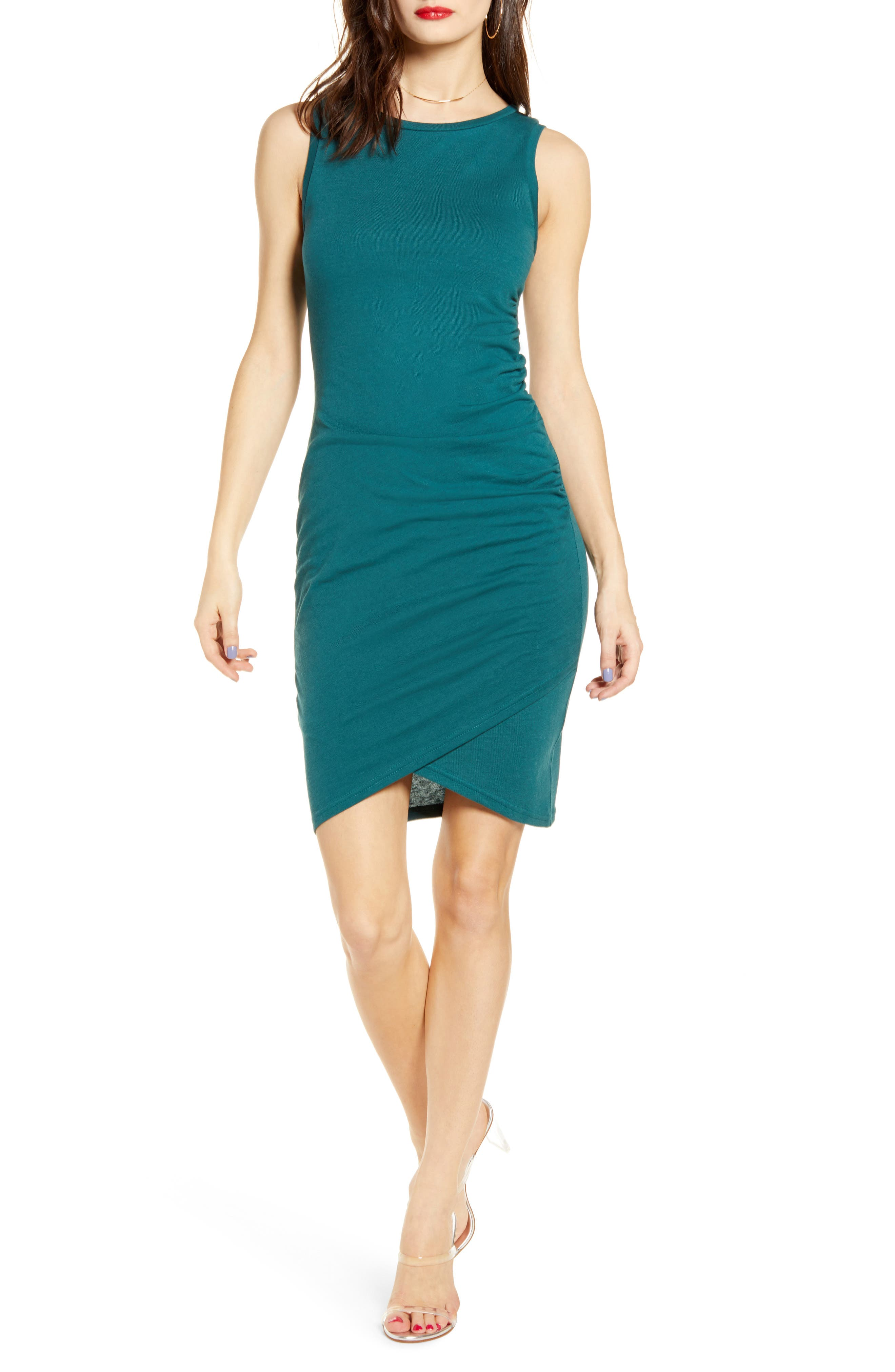 Leith Ruched Body-Con Tank Dress, Blue/green