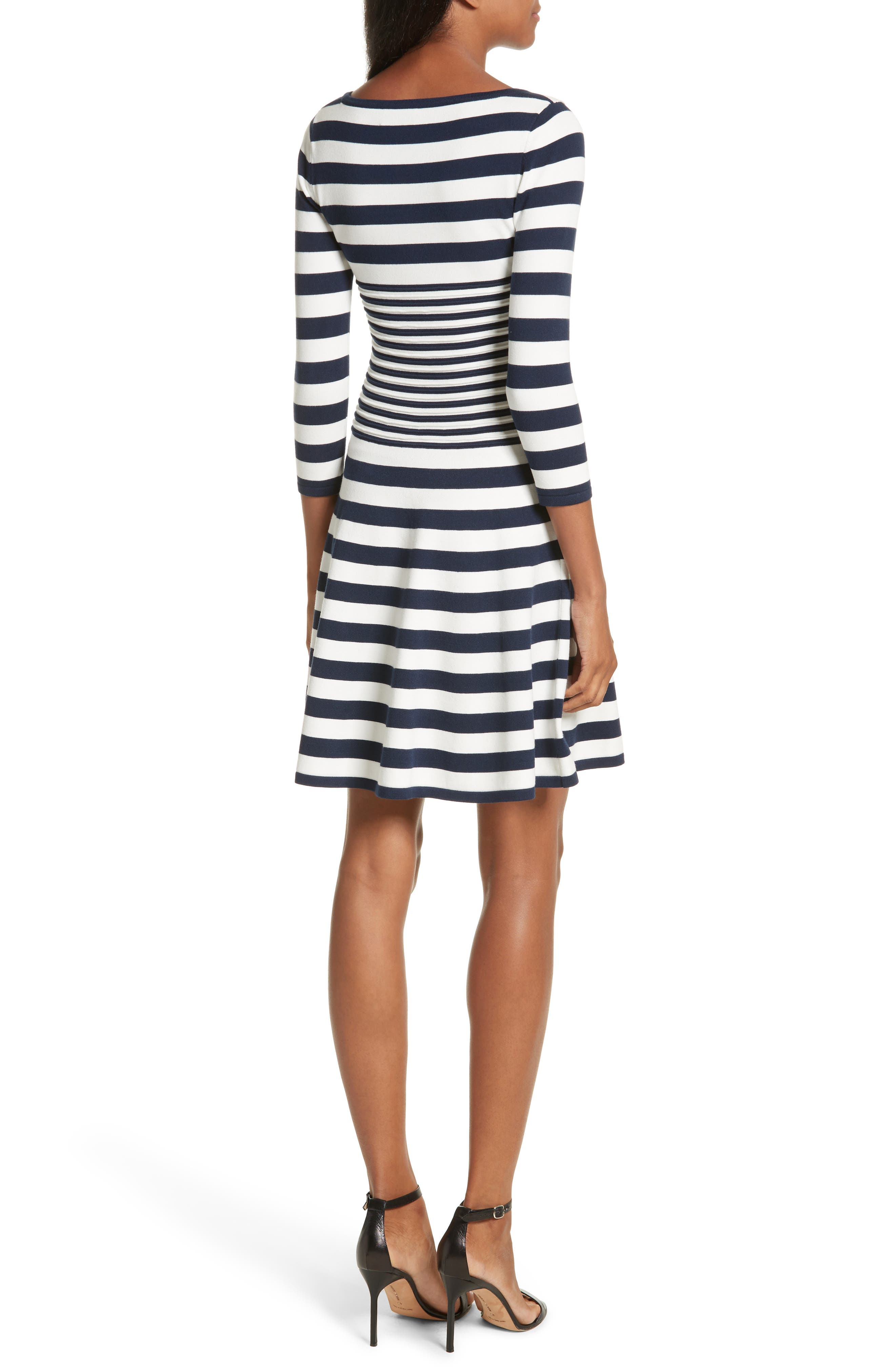 Striped Ottoman Fit & Flare Dress,                             Alternate thumbnail 2, color,                             155