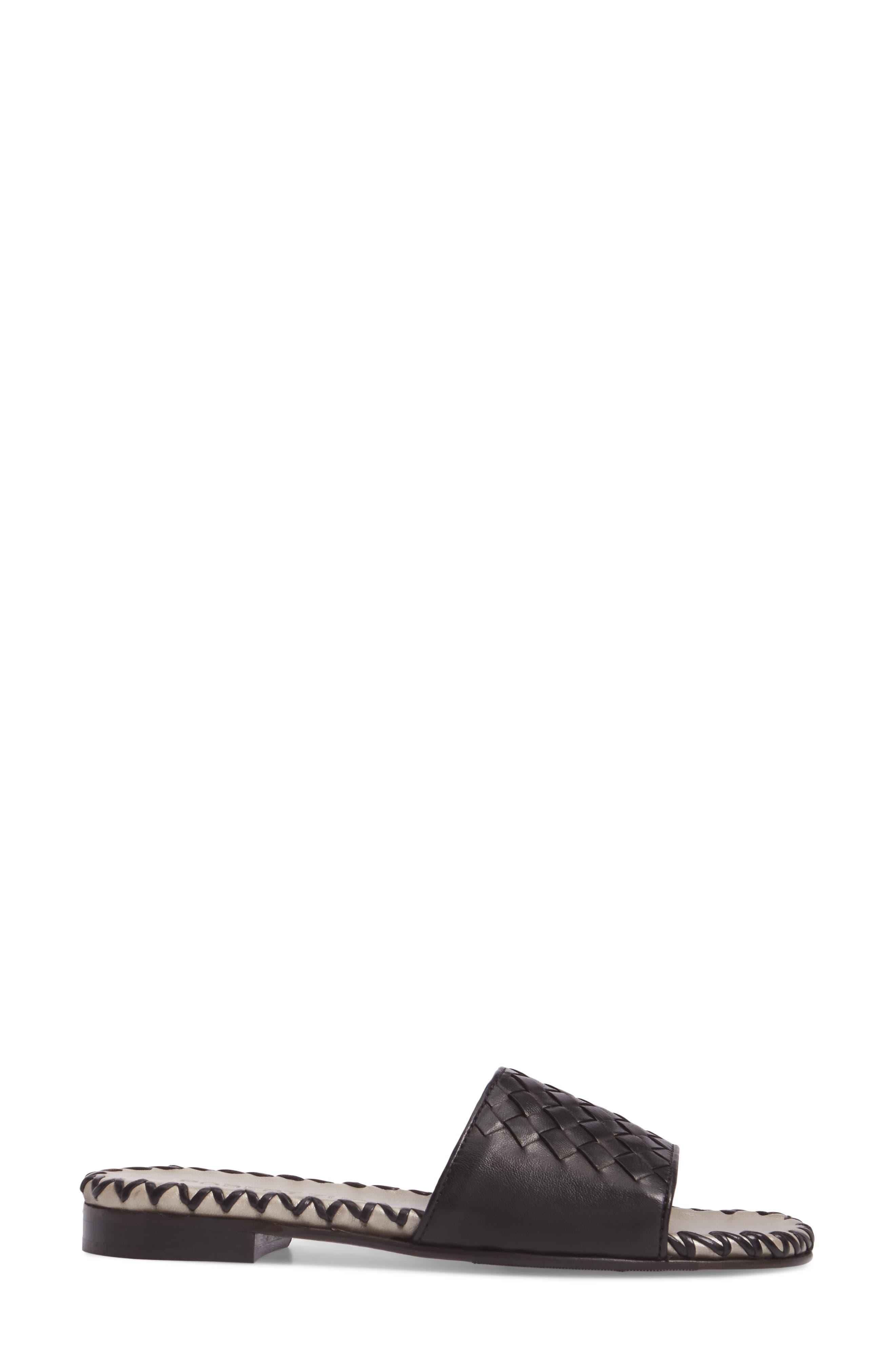 Matilda Woven Slide Sandal,                             Alternate thumbnail 3, color,                             001