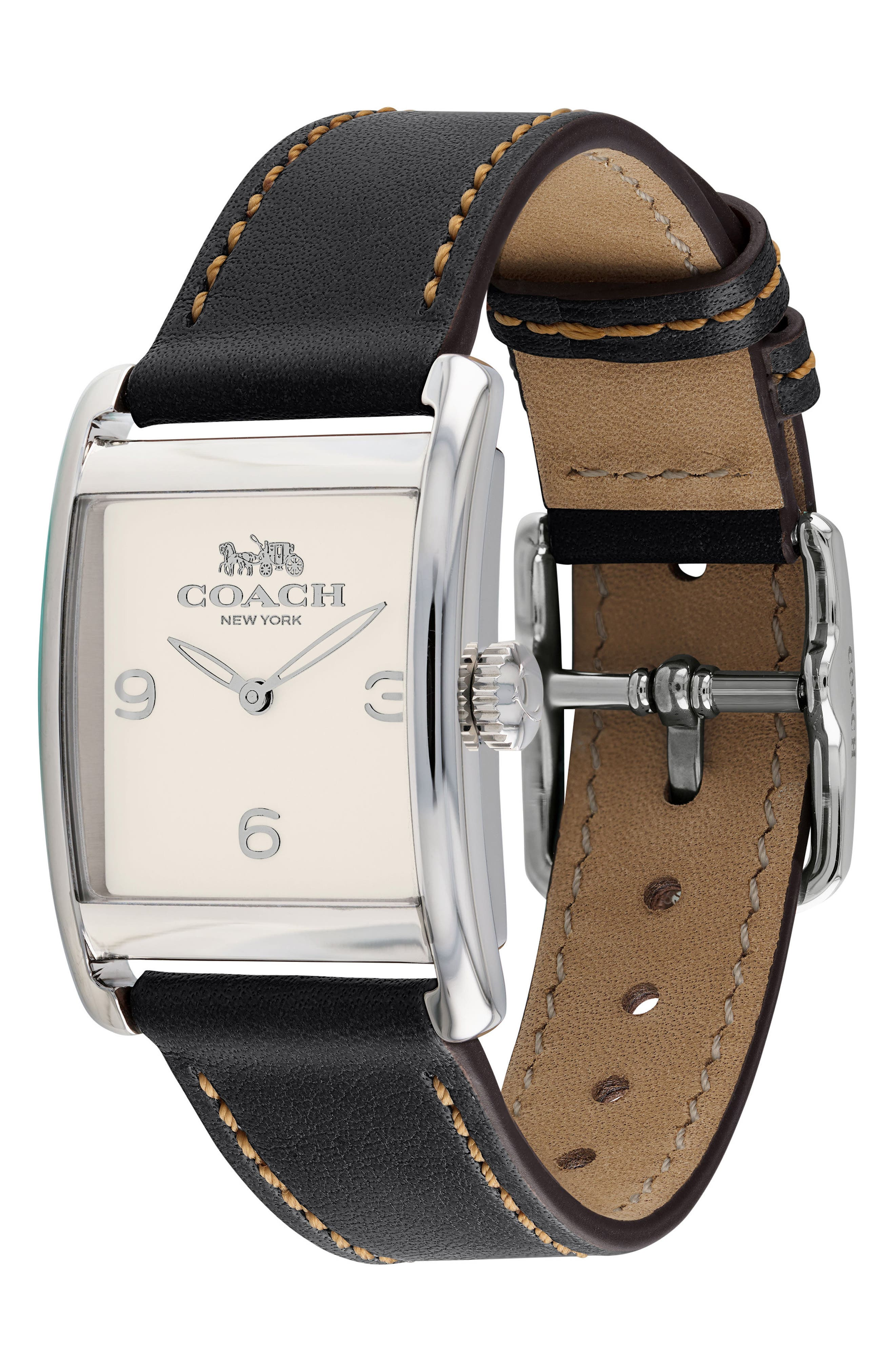 Renwick Leather Strap Tank Watch, 24mm x 35mm,                             Main thumbnail 1, color,                             001