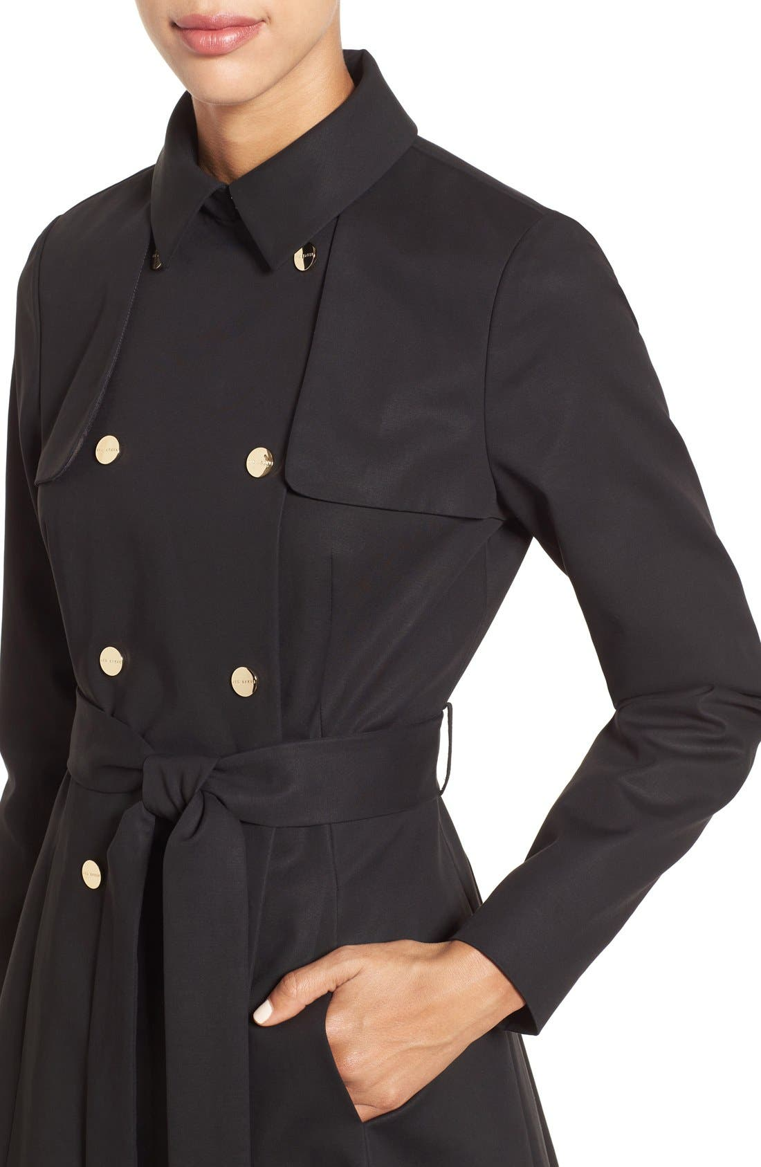 Double Breasted Trench Coat,                             Alternate thumbnail 4, color,                             001