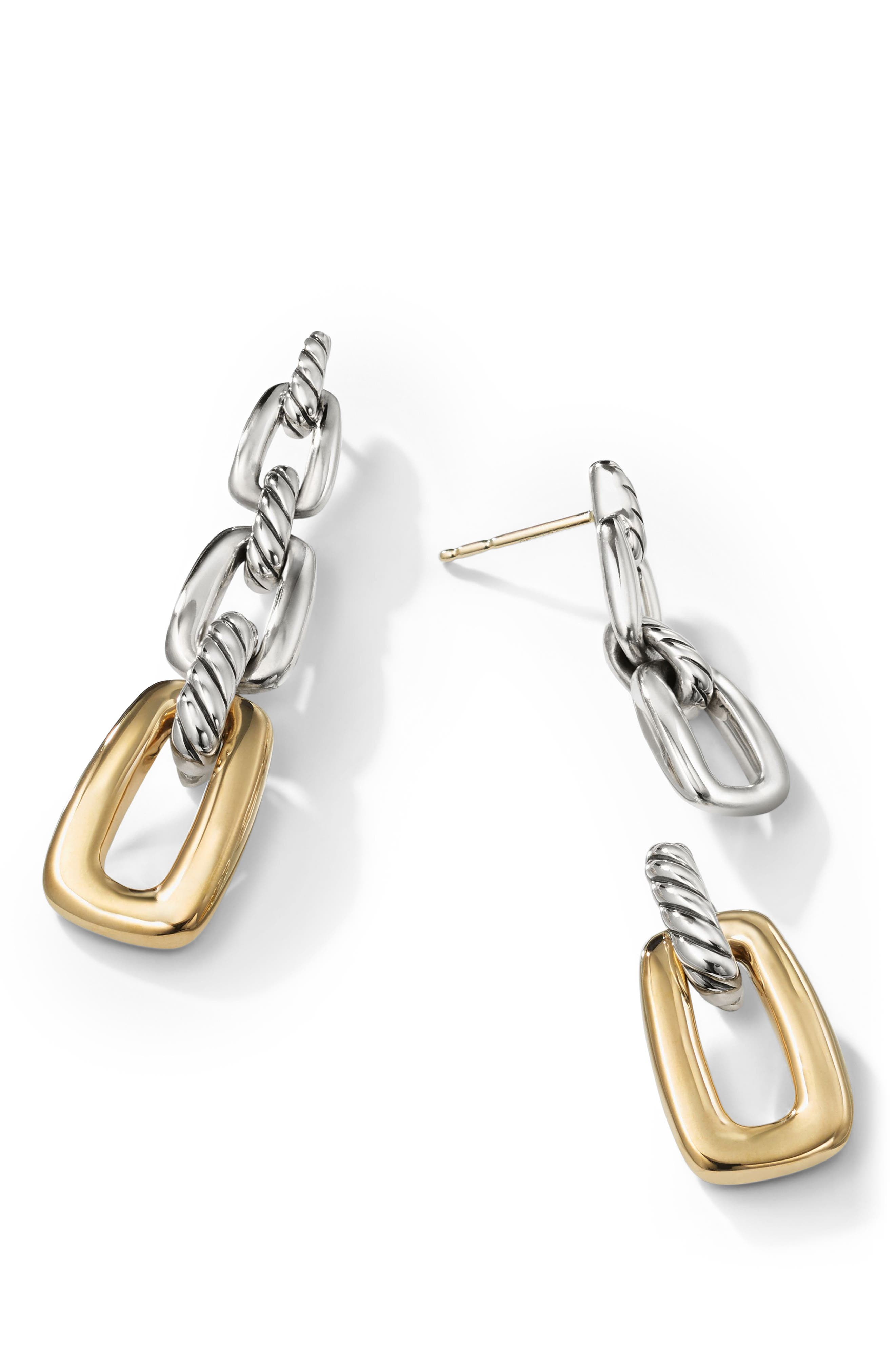 Wellesley Link Drop Earrings with 18k Gold,                             Alternate thumbnail 2, color,                             18K YELLOW GOLD/ SILVER