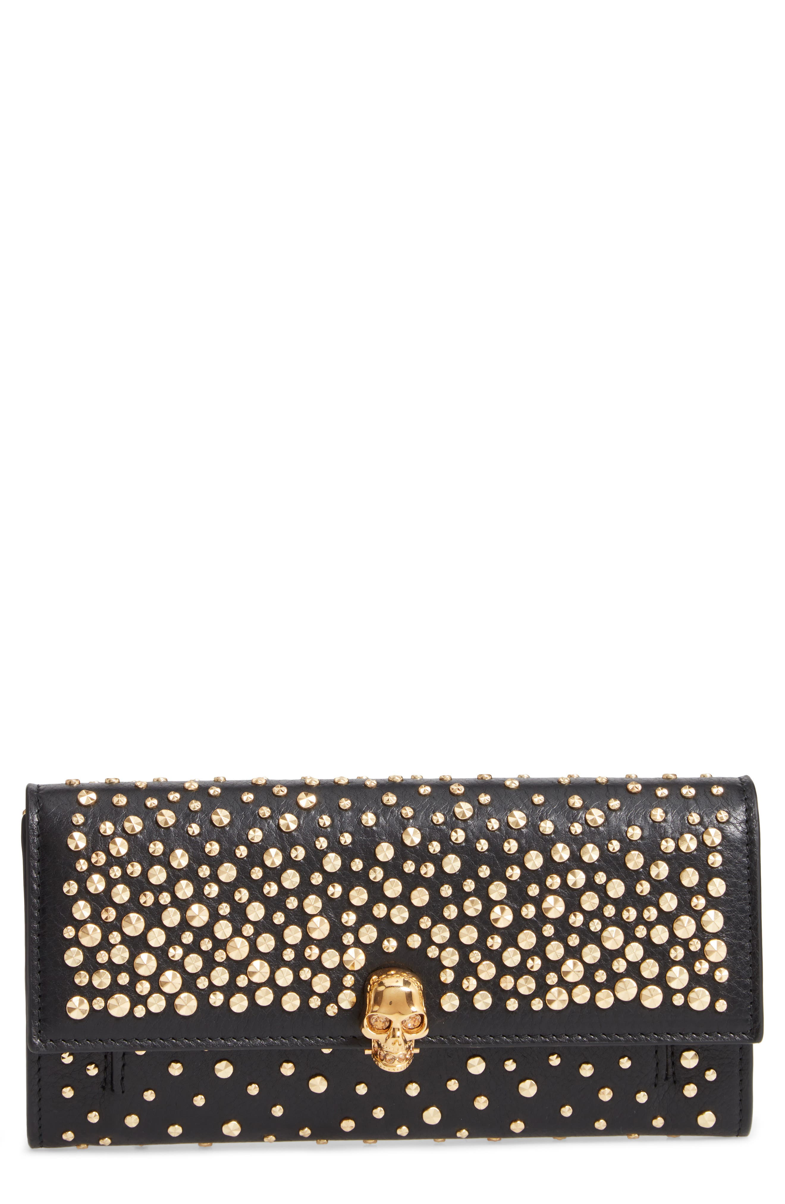 Studded Leather Wallet on a Chain,                         Main,                         color, BLACK