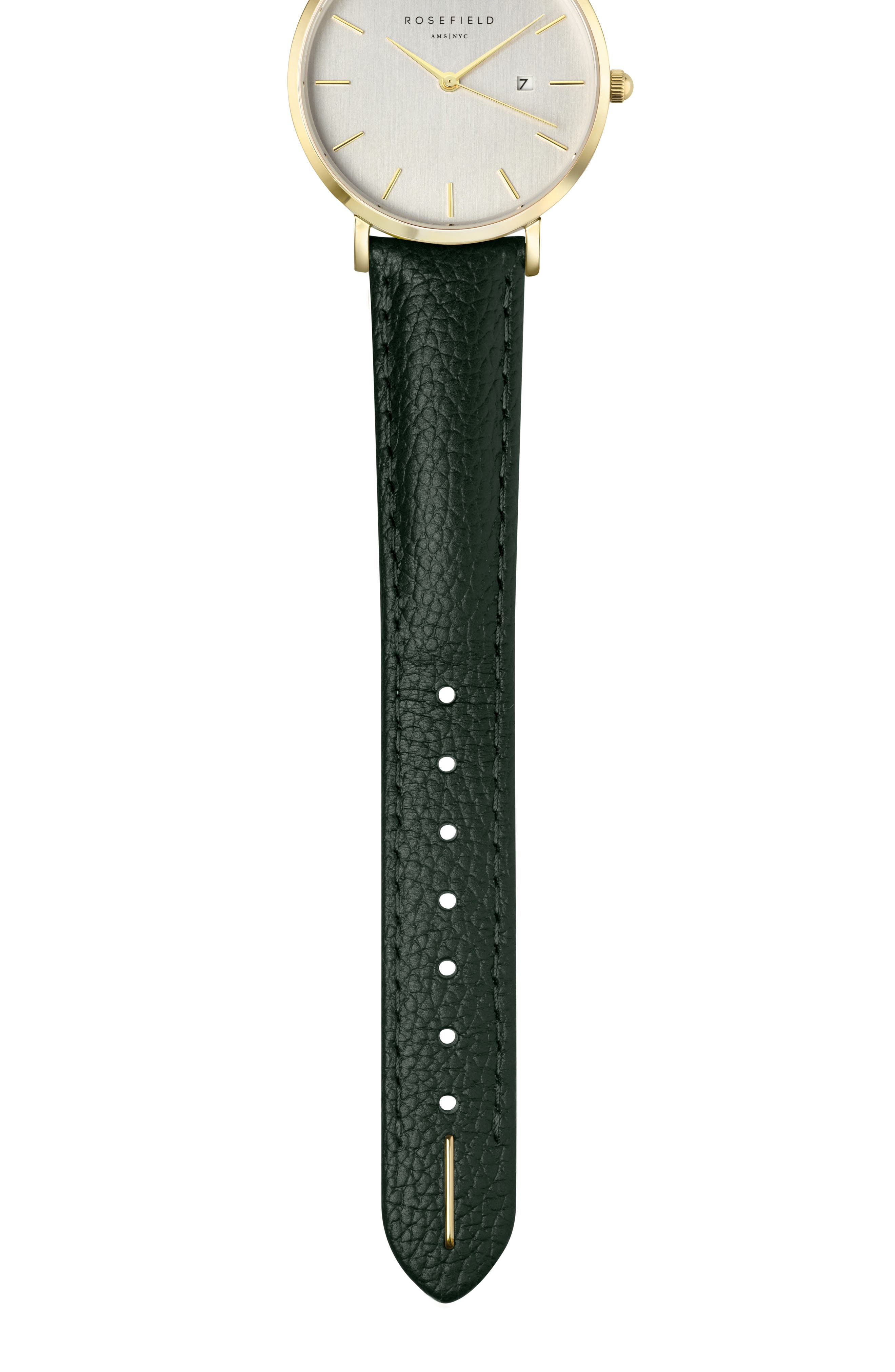 The September Issue Leather Strap Watch, 33mm,                             Alternate thumbnail 2, color,                             GREEN/ GOLD