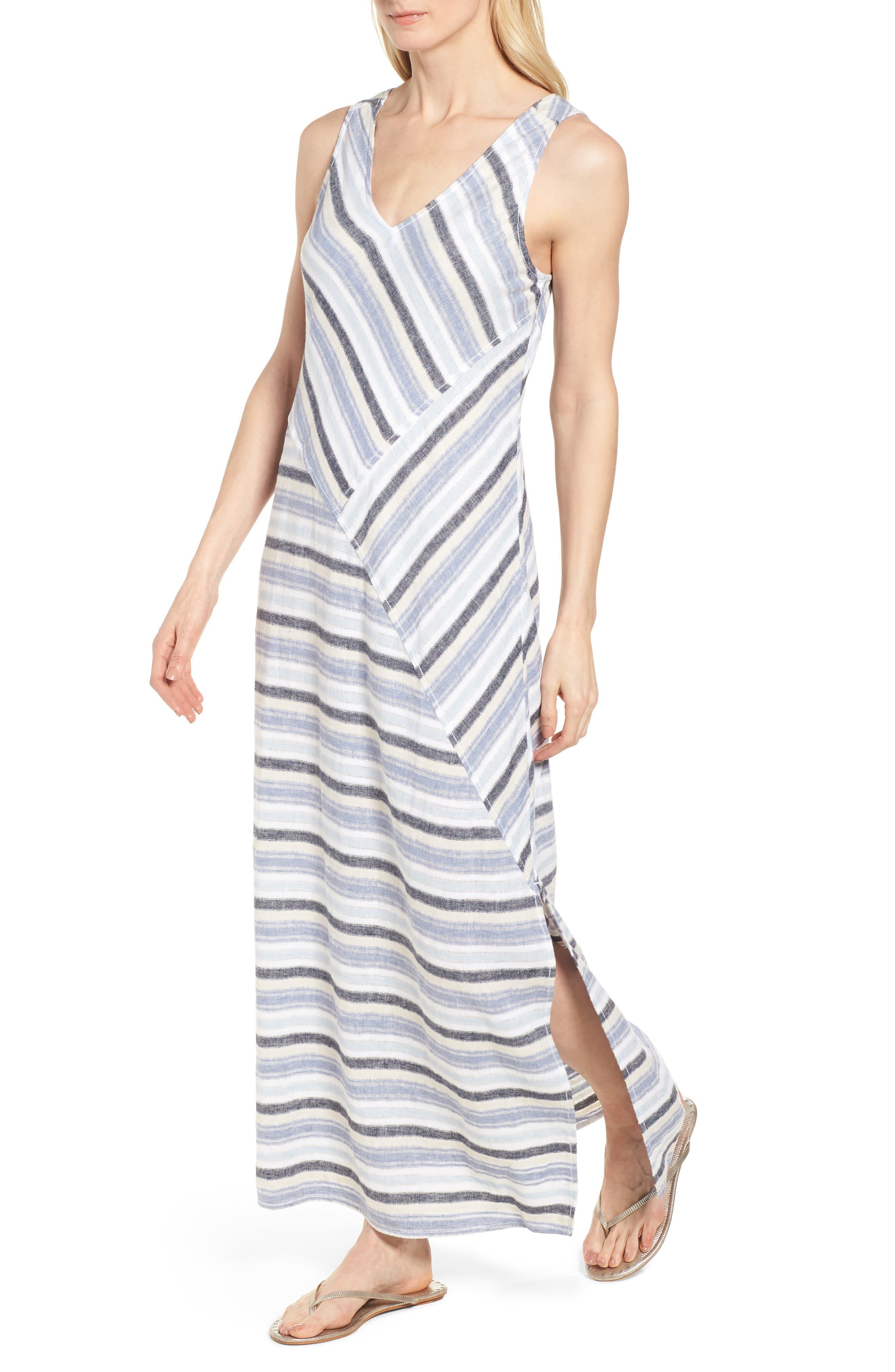 Stripe A-Line Maxi Dress,                             Alternate thumbnail 4, color,                             420