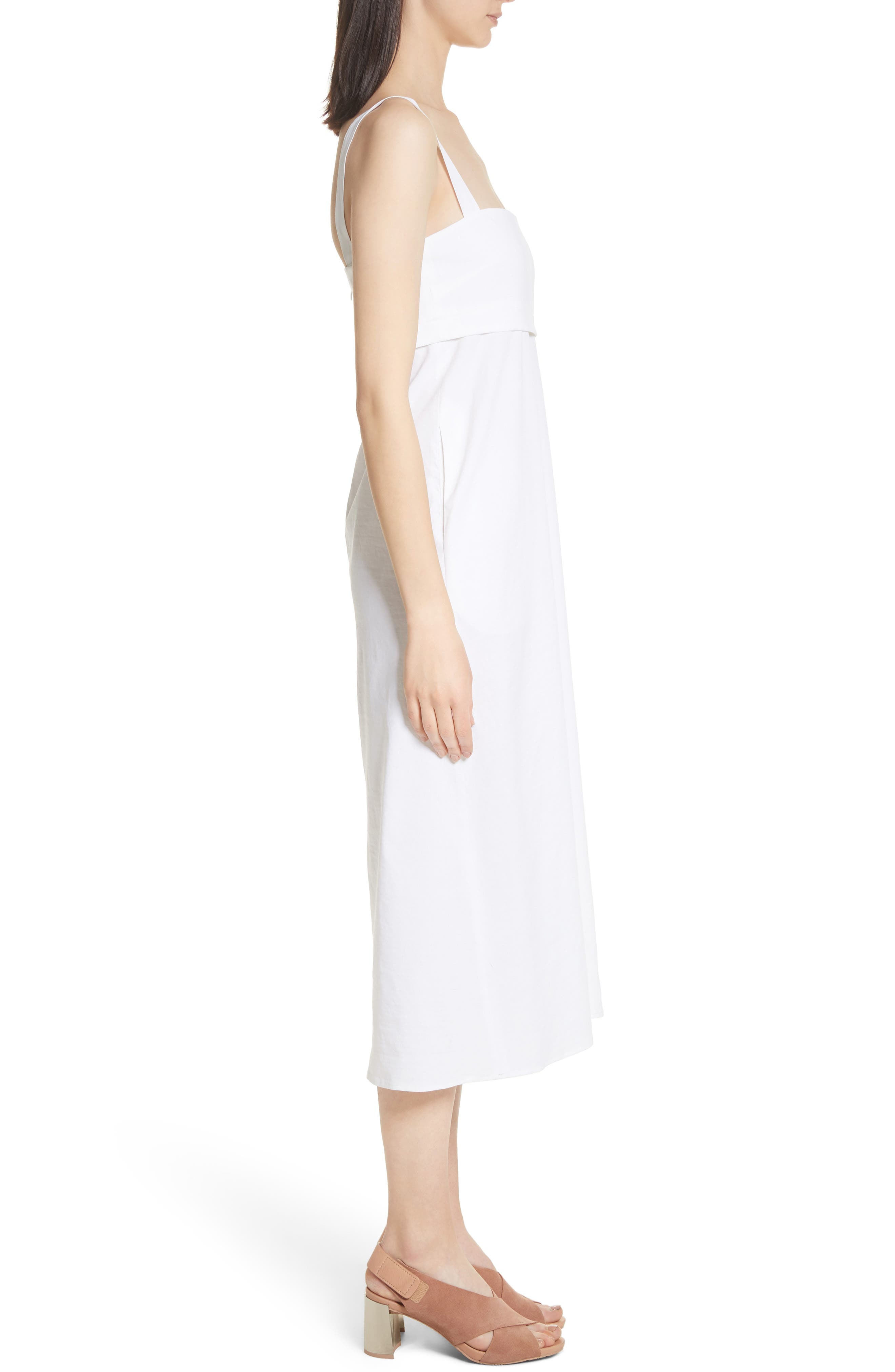Empire Waist Midi Dress,                             Alternate thumbnail 3, color,                             100