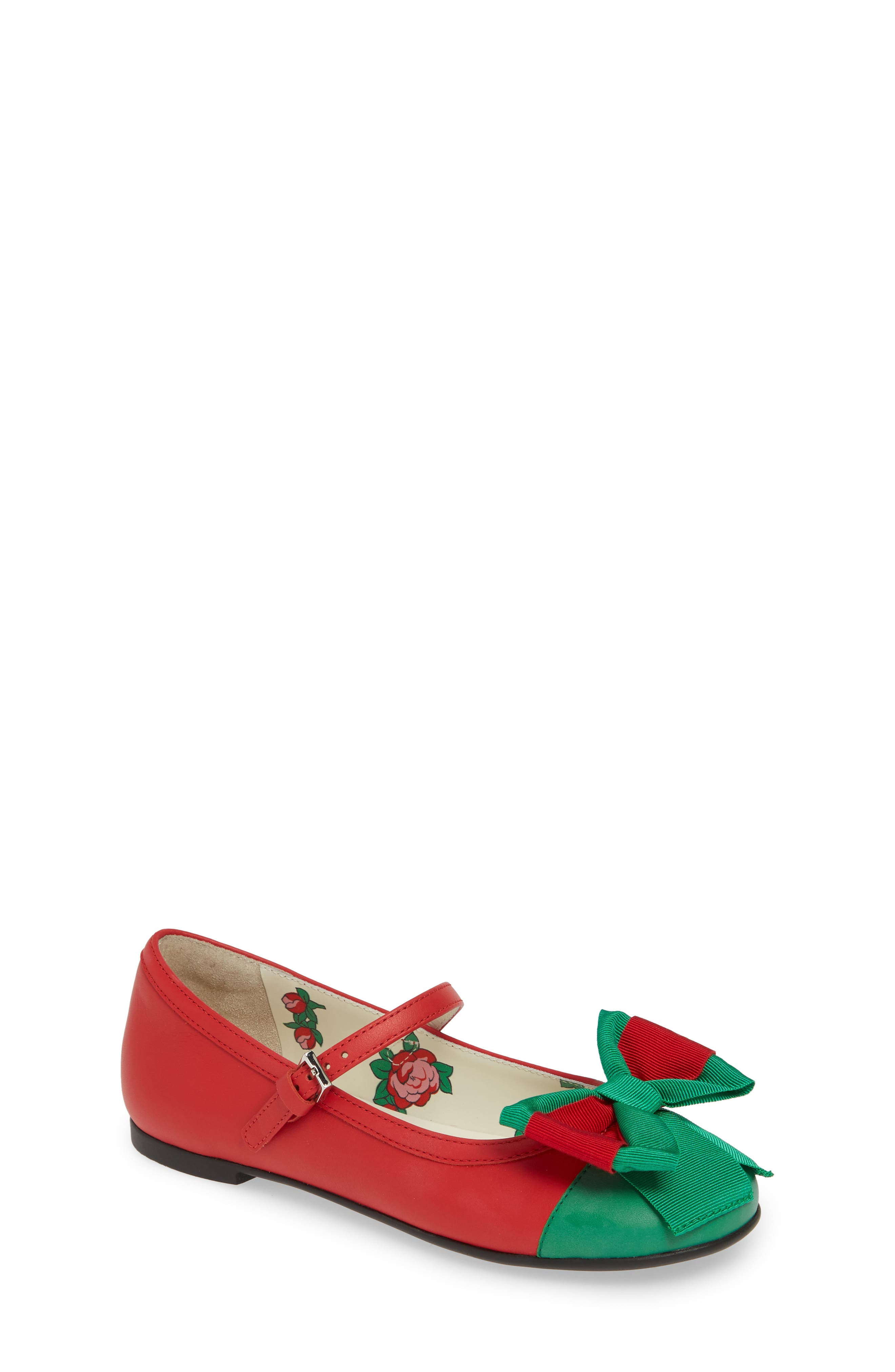 Toddler Gucci Web Bow Mary Jane Flat Size 125US  30EU  Red