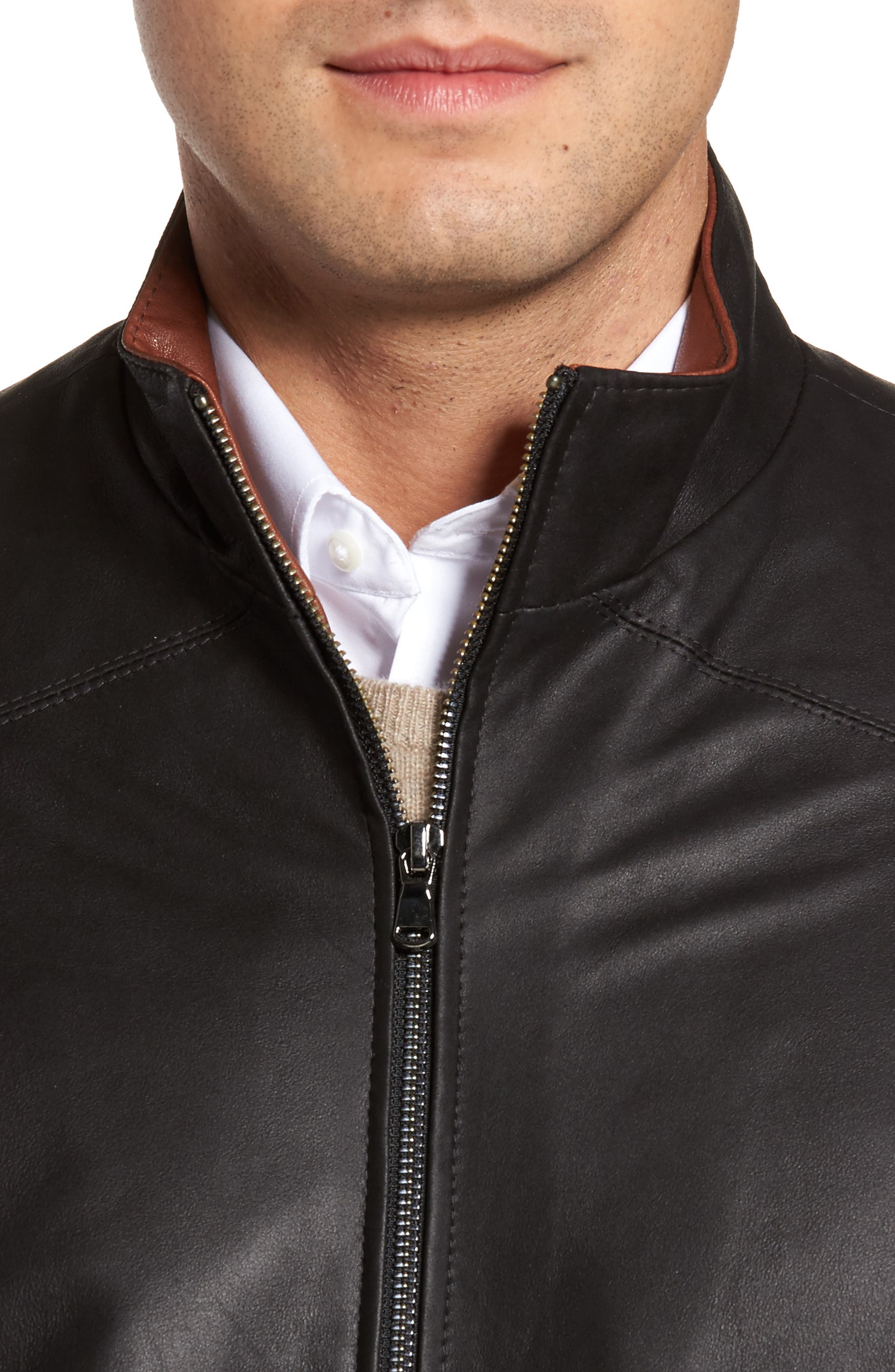 Leather Jacket,                             Alternate thumbnail 4, color,                             PEAT/ TIMBER