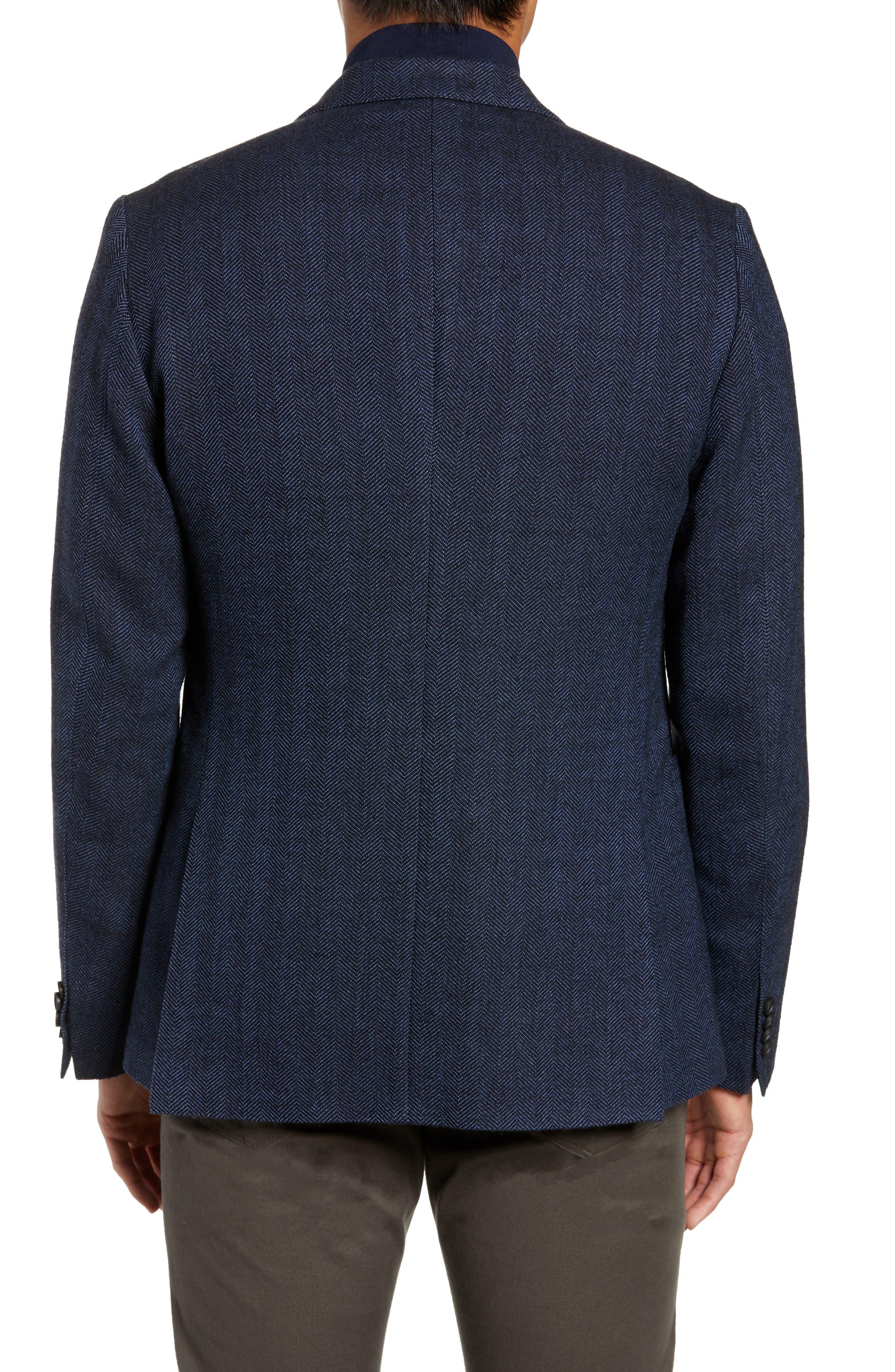 Nanon Trim Fit Herringbone Wool & Cotton Sport Coat,                             Alternate thumbnail 2, color,                             OPEN BLUE