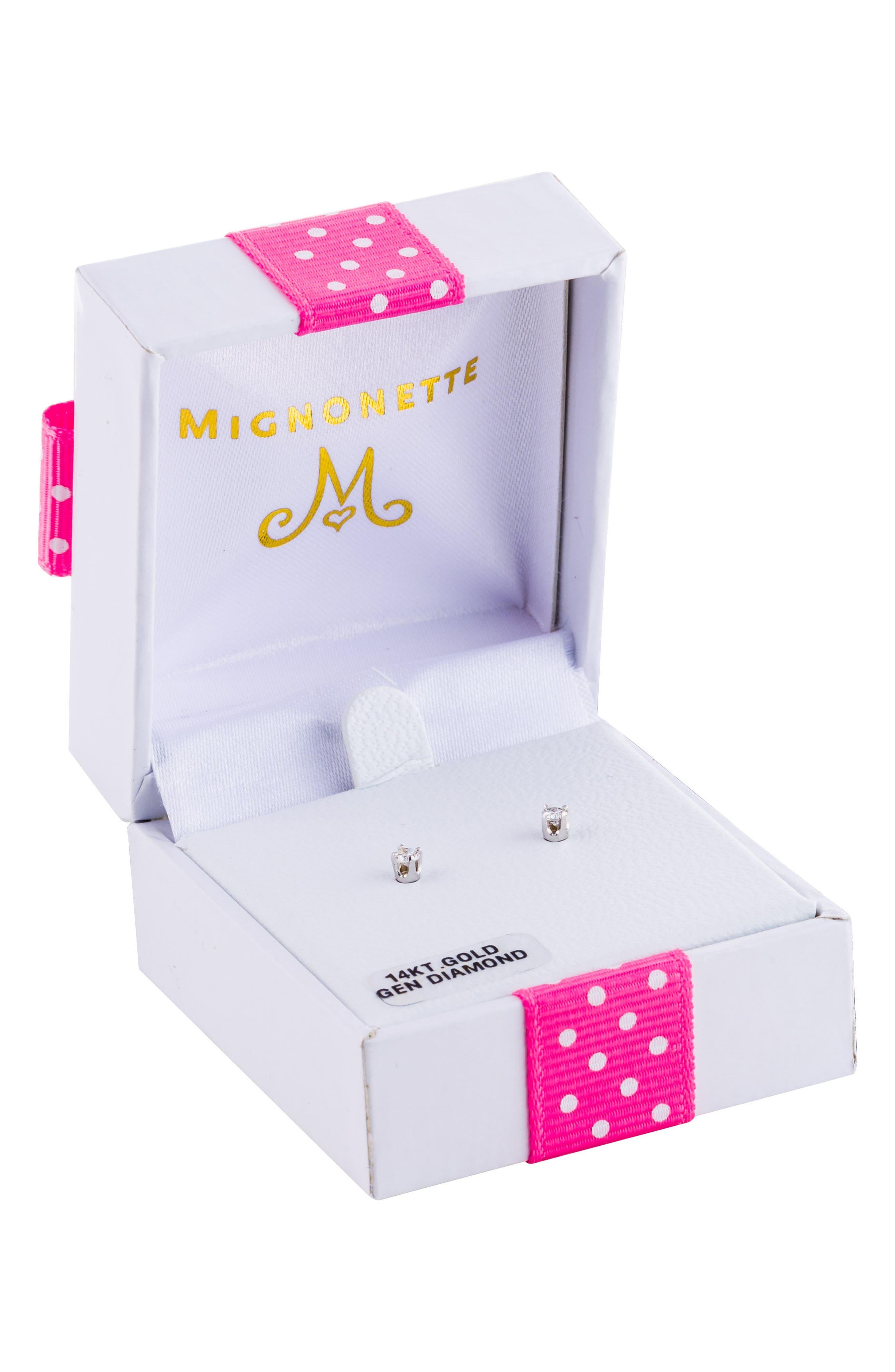 14k White Gold & Diamond Earrings,                             Alternate thumbnail 3, color,                             WHITE