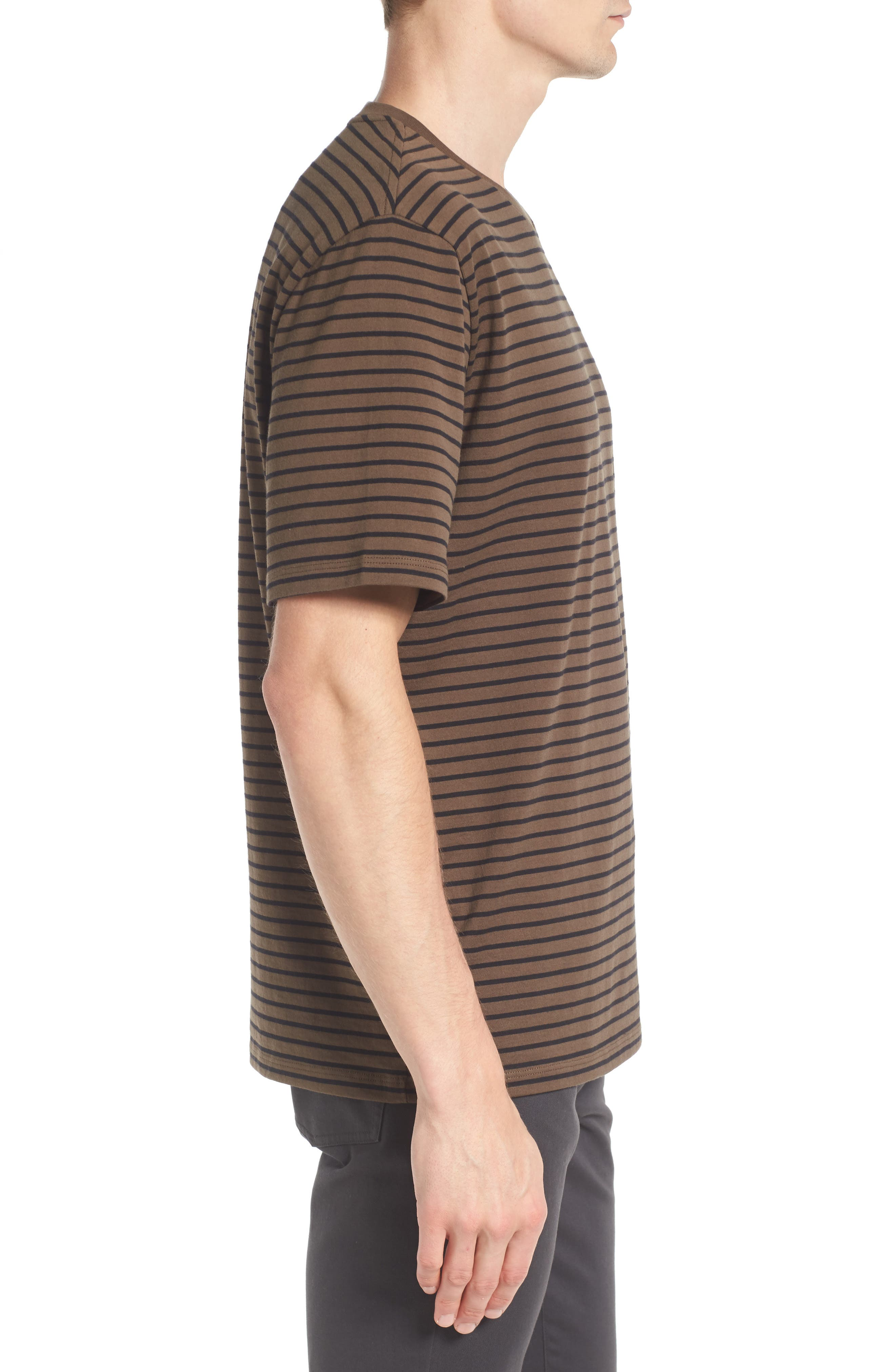 Narrow Stripe Pima Cotton T-Shirt,                             Alternate thumbnail 5, color,
