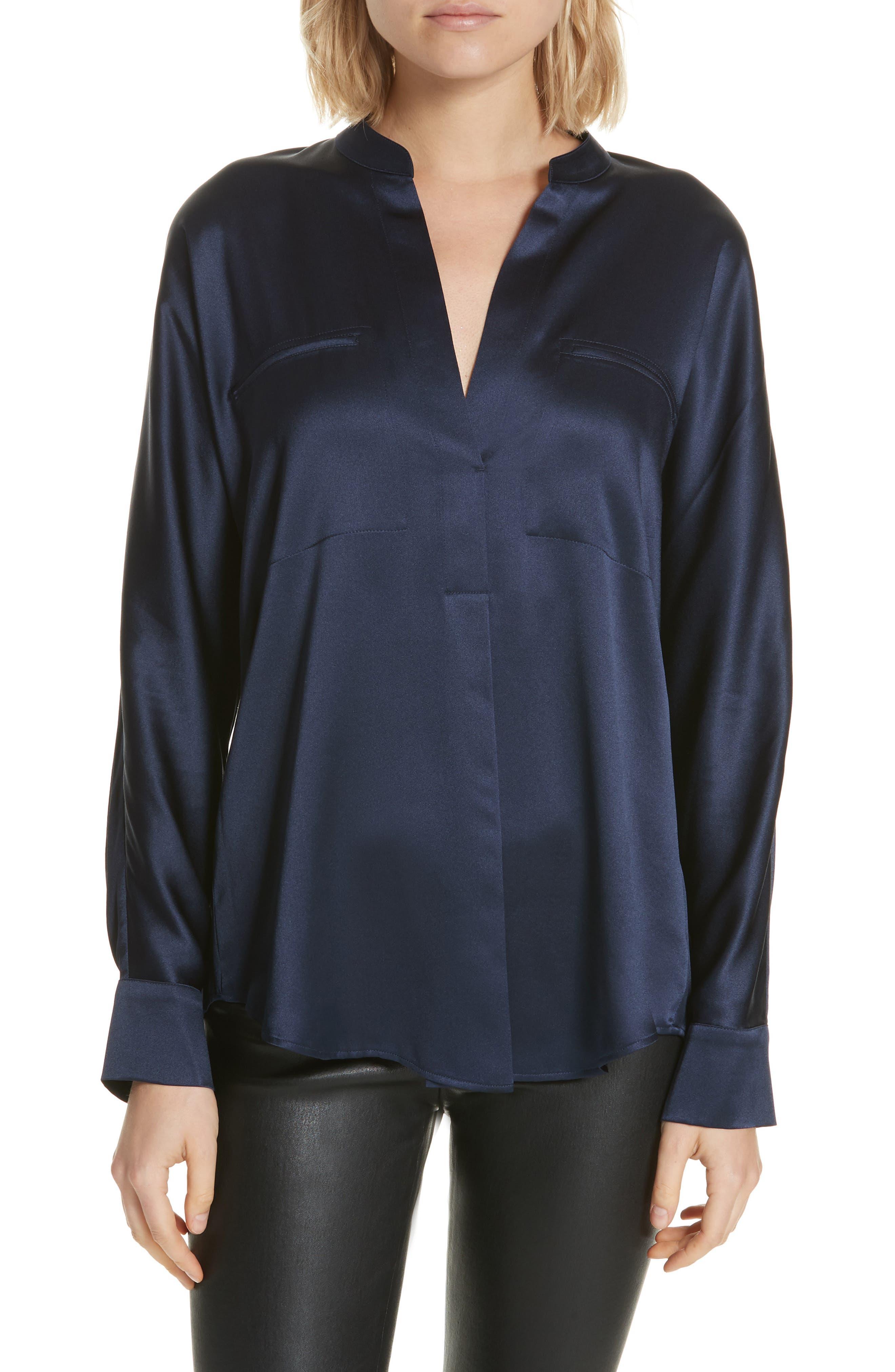 Band Collar Silk Blouse,                         Main,                         color, MARINE