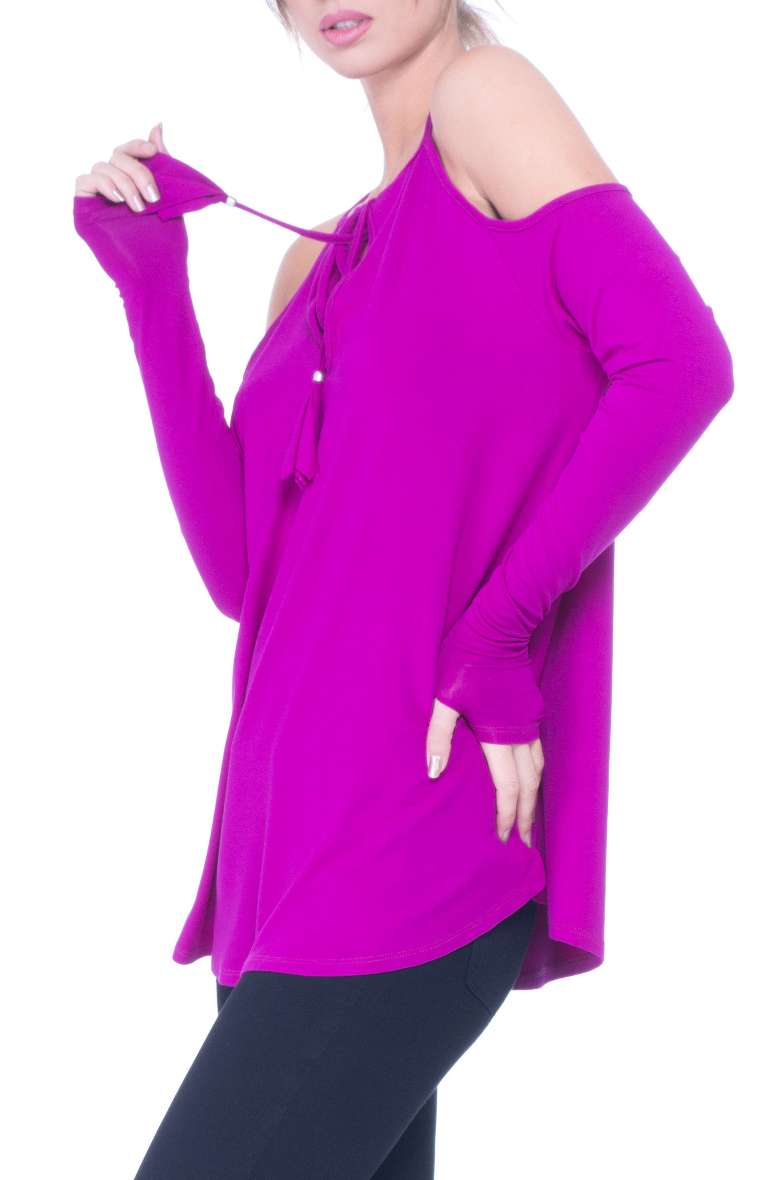 Lucy Strappy Cold Shoulder Maternity Top,                             Alternate thumbnail 3, color,                             BOYSENBERRY
