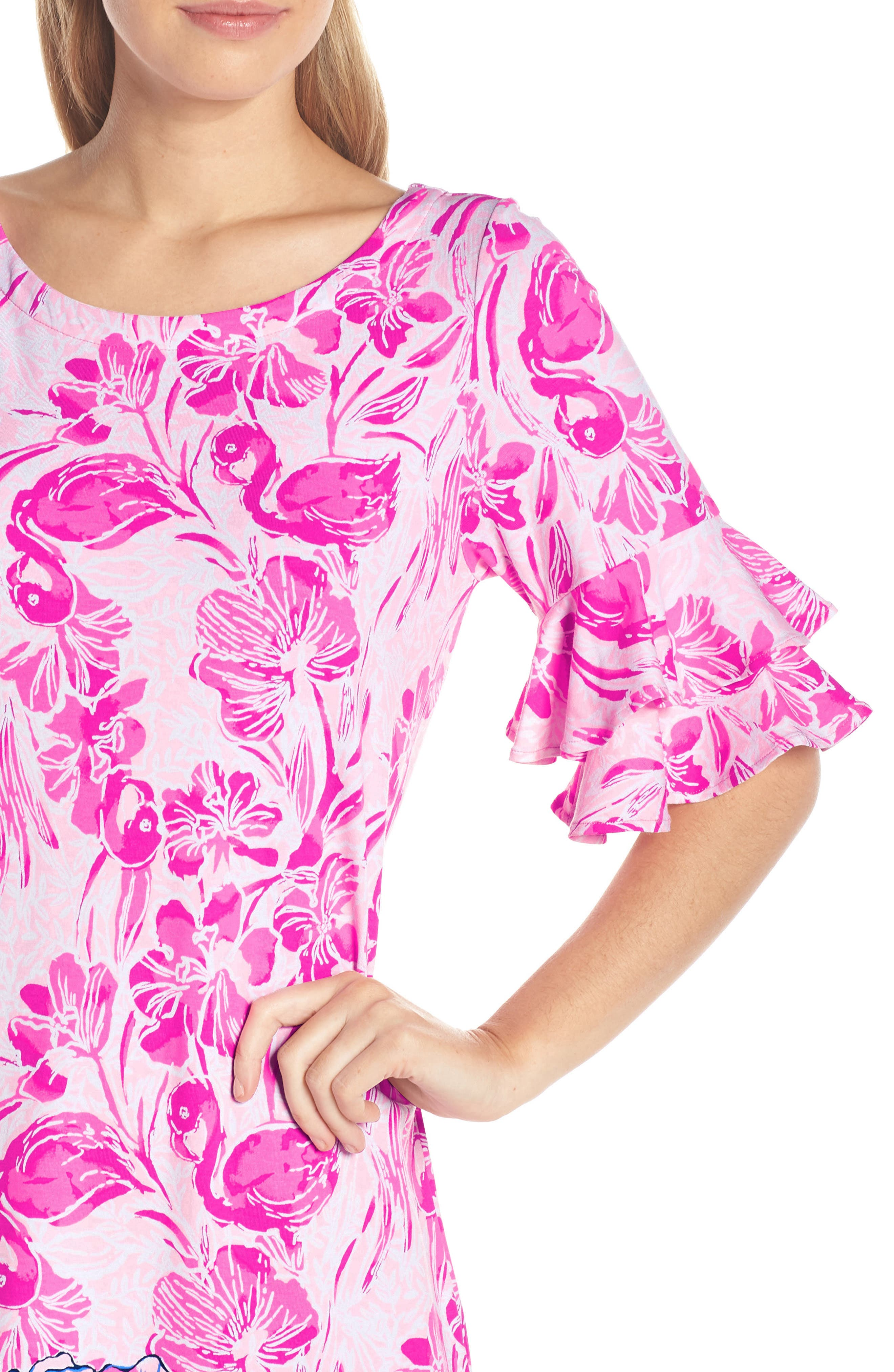 LILLY PULITZER<SUP>®</SUP>,                             Lula Shift Dress,                             Alternate thumbnail 4, color,                             CORAL REEF TINT FLAMINGLE