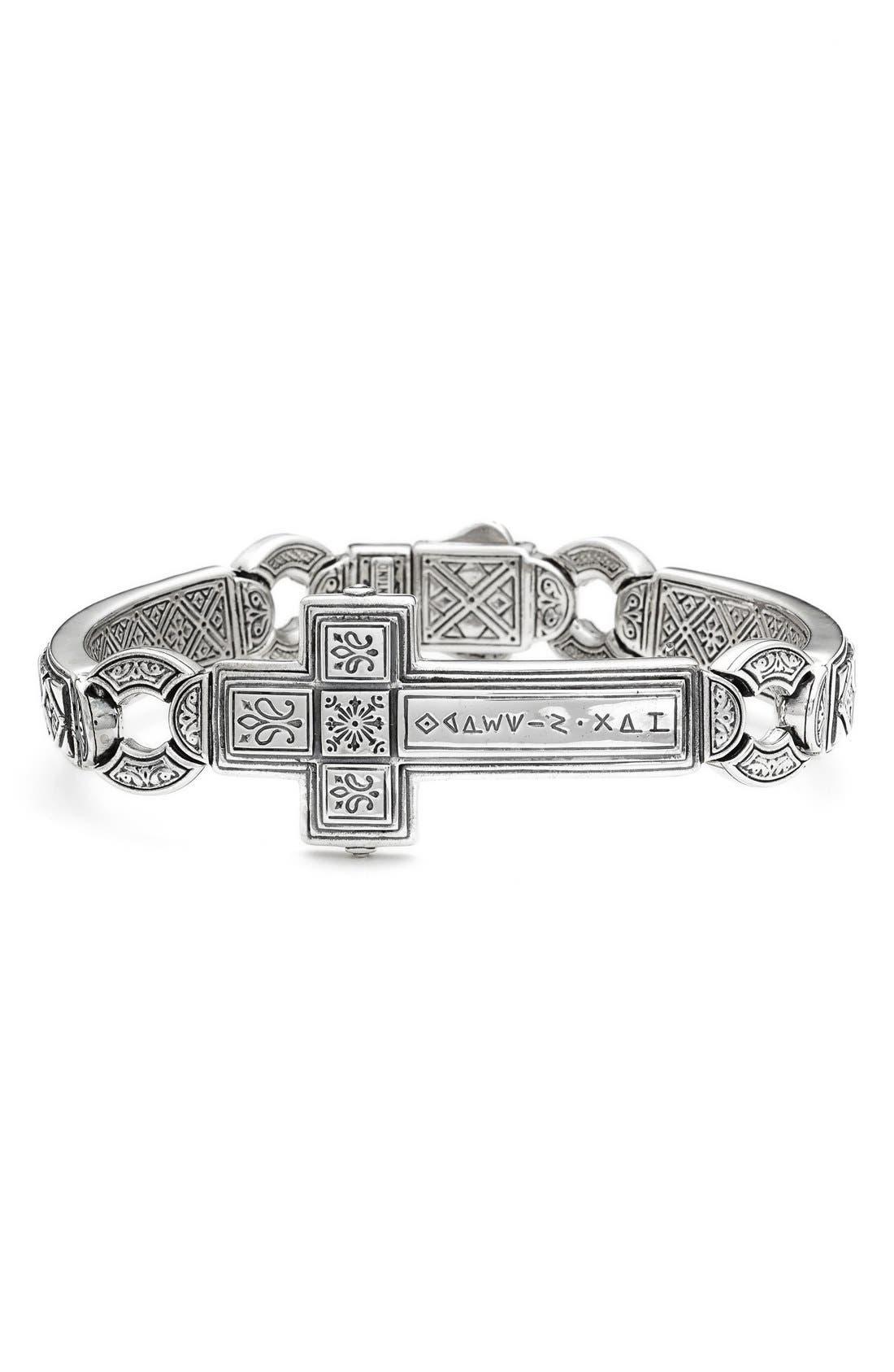 'Silver Classics' Metal Cross Bracelet,                             Main thumbnail 1, color,                             SILVER