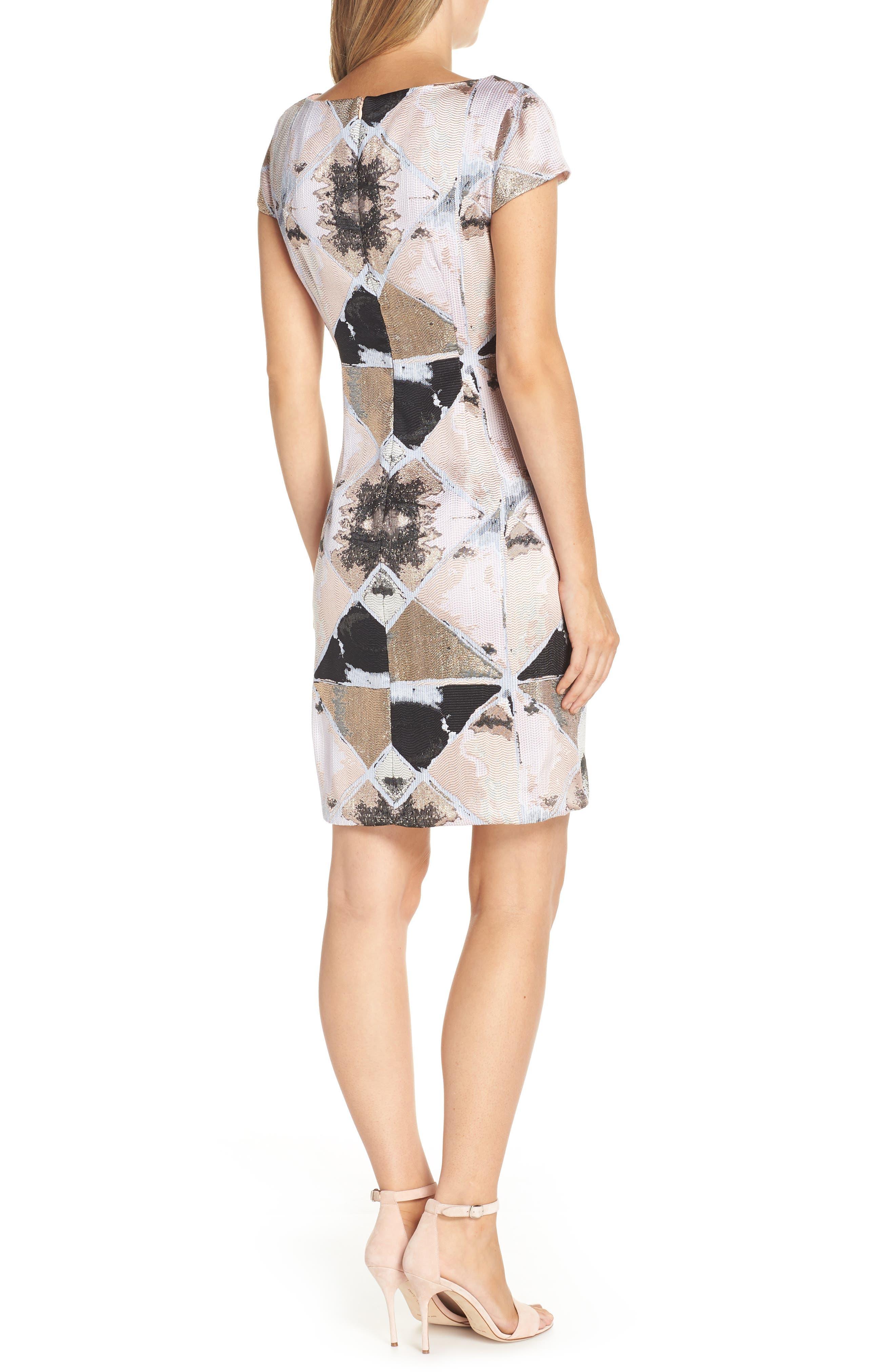 Jacquard Sheath Dress,                             Alternate thumbnail 2, color,                             BLUSH