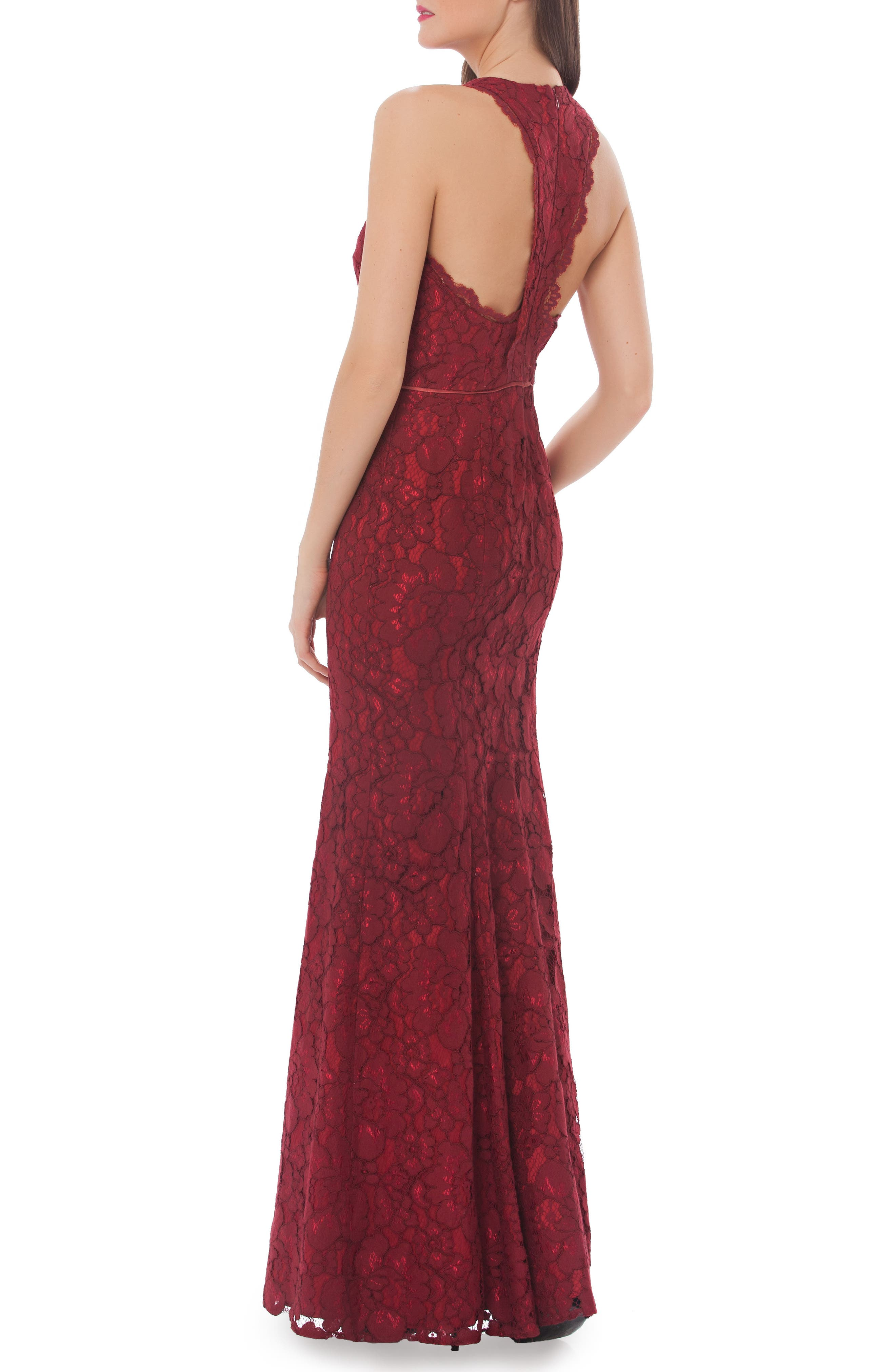 Corded Floral Lace Mermaid Gown,                             Alternate thumbnail 2, color,                             608
