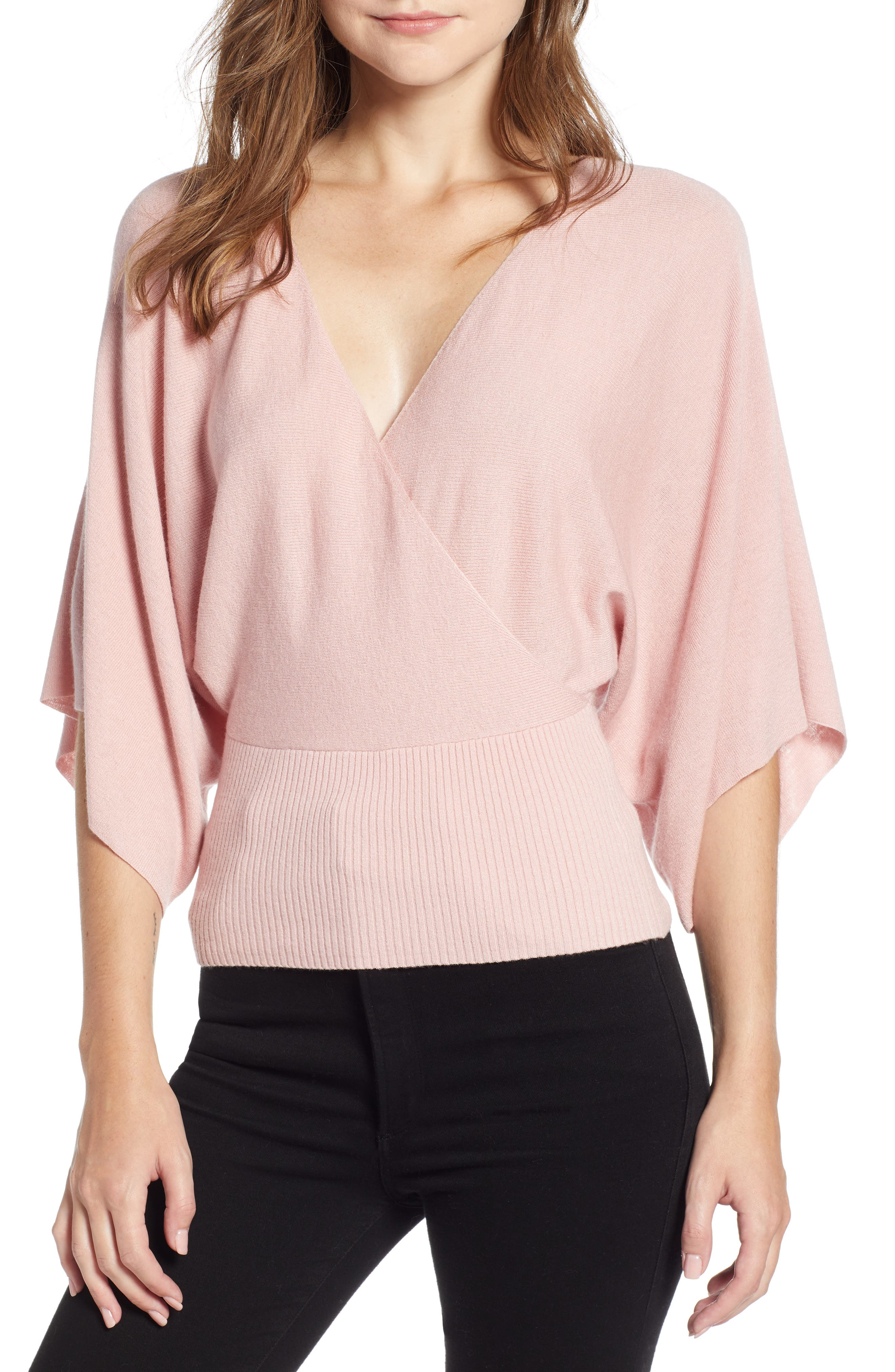BAILEY44 Eye In The Sky Faux-Wrap Sweater in Cherry Blossom