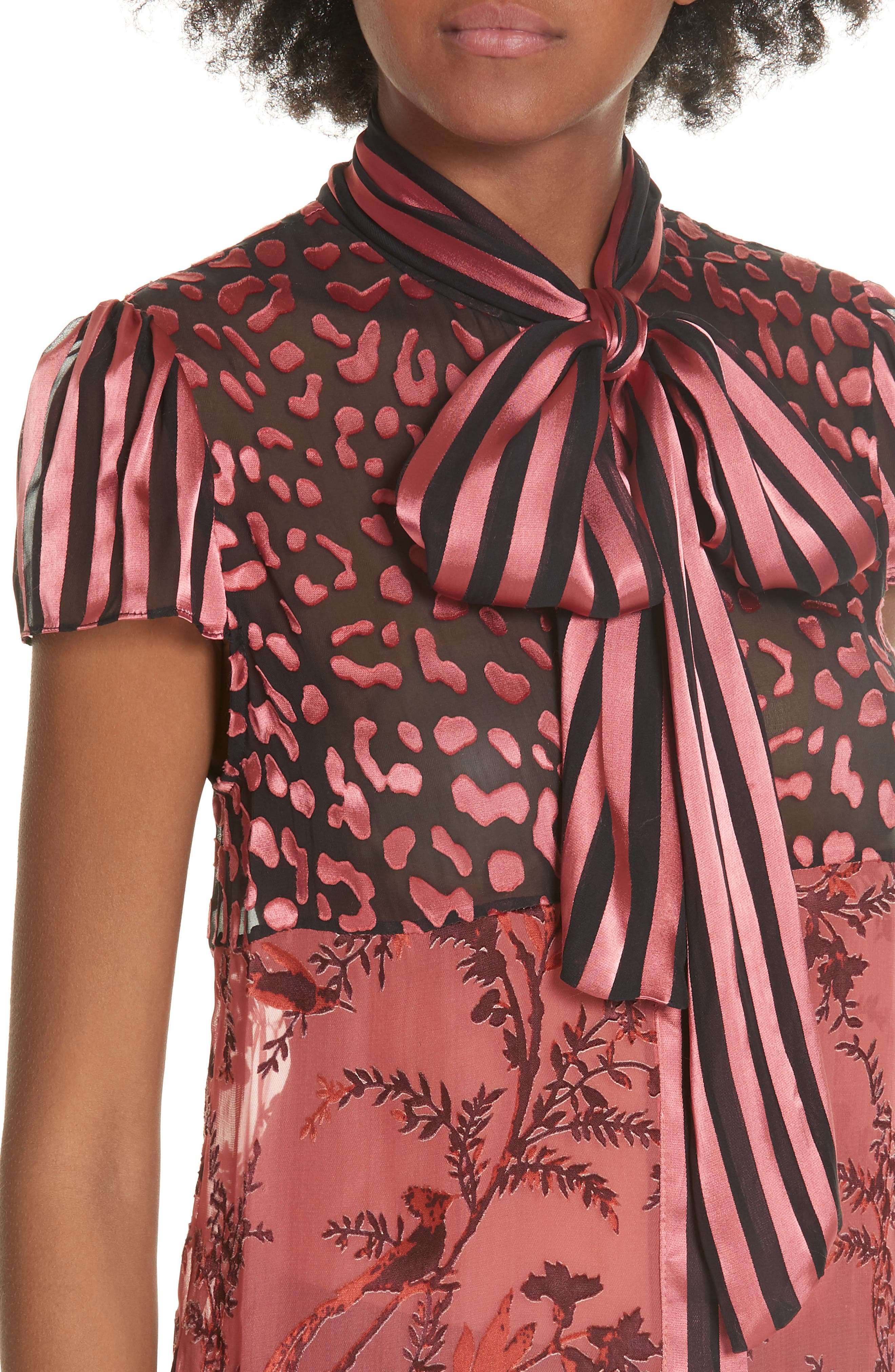 Jeannie Bow Neck Blouse,                             Alternate thumbnail 4, color,                             TWO TONE BIRD/ ROSE