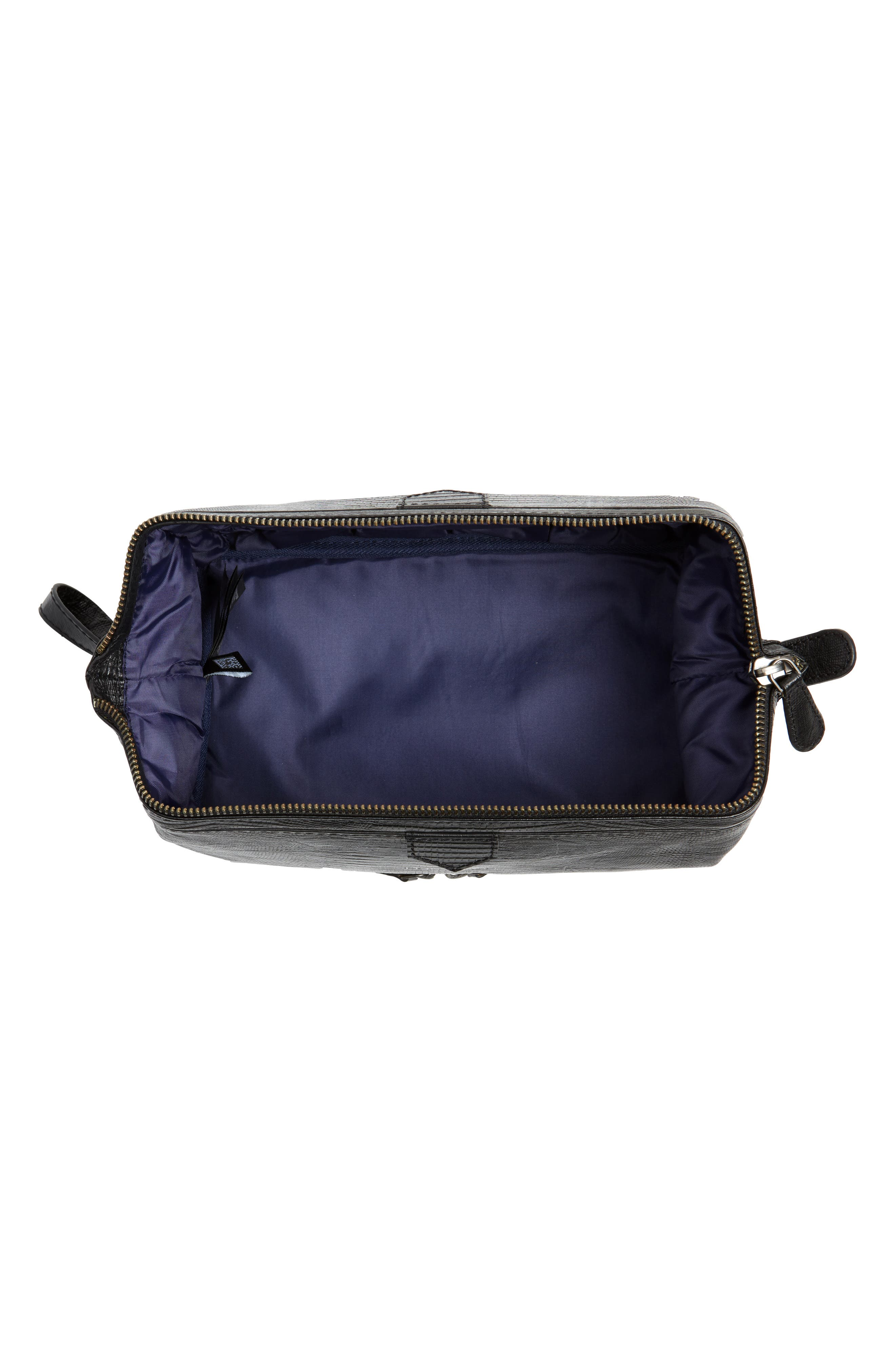 TED BAKER LONDON,                             Leather Travel Kit,                             Alternate thumbnail 3, color,                             BLACK