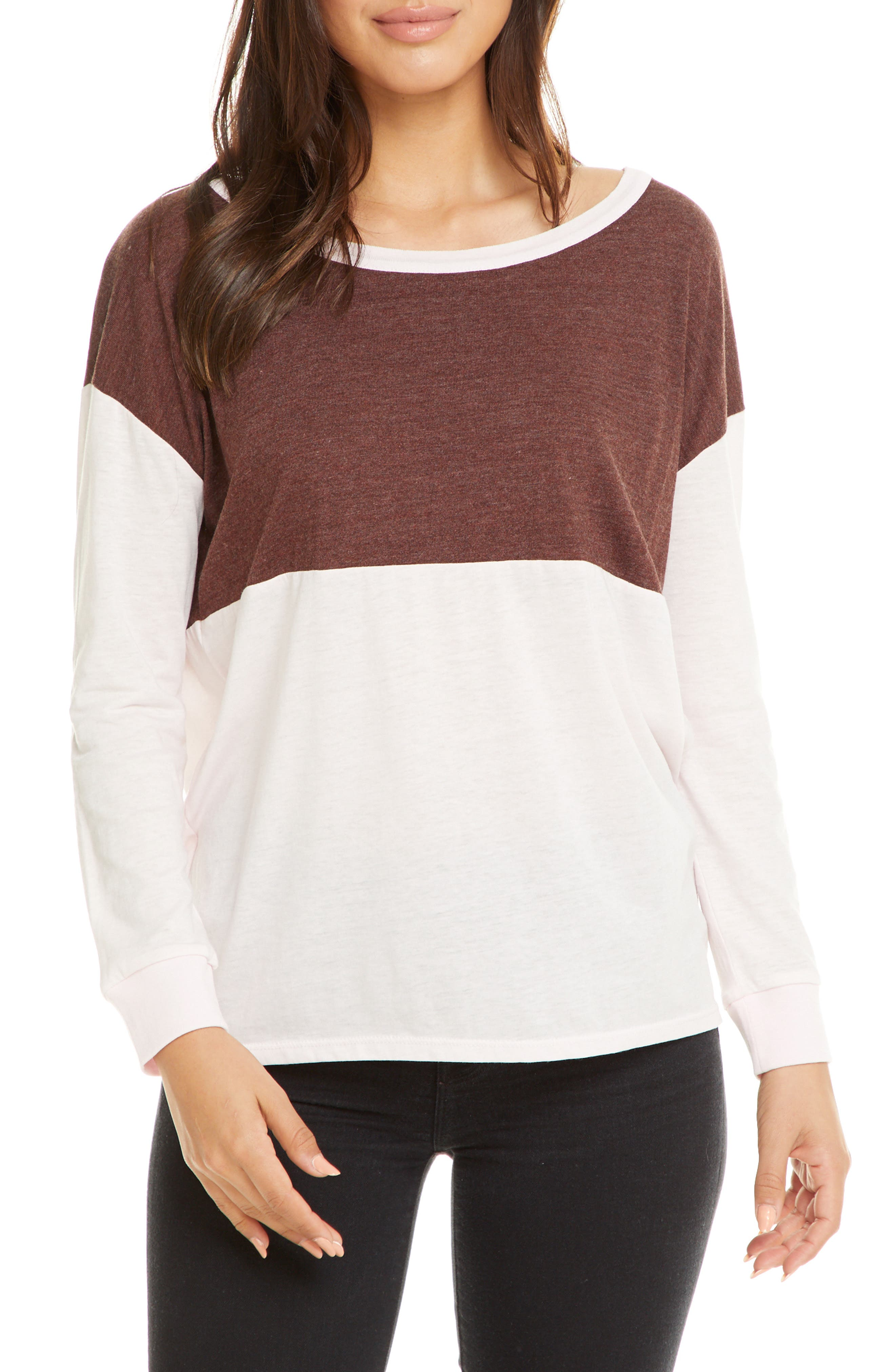 Chaser Colorblock Dolman Sleeve Tee, Ivory