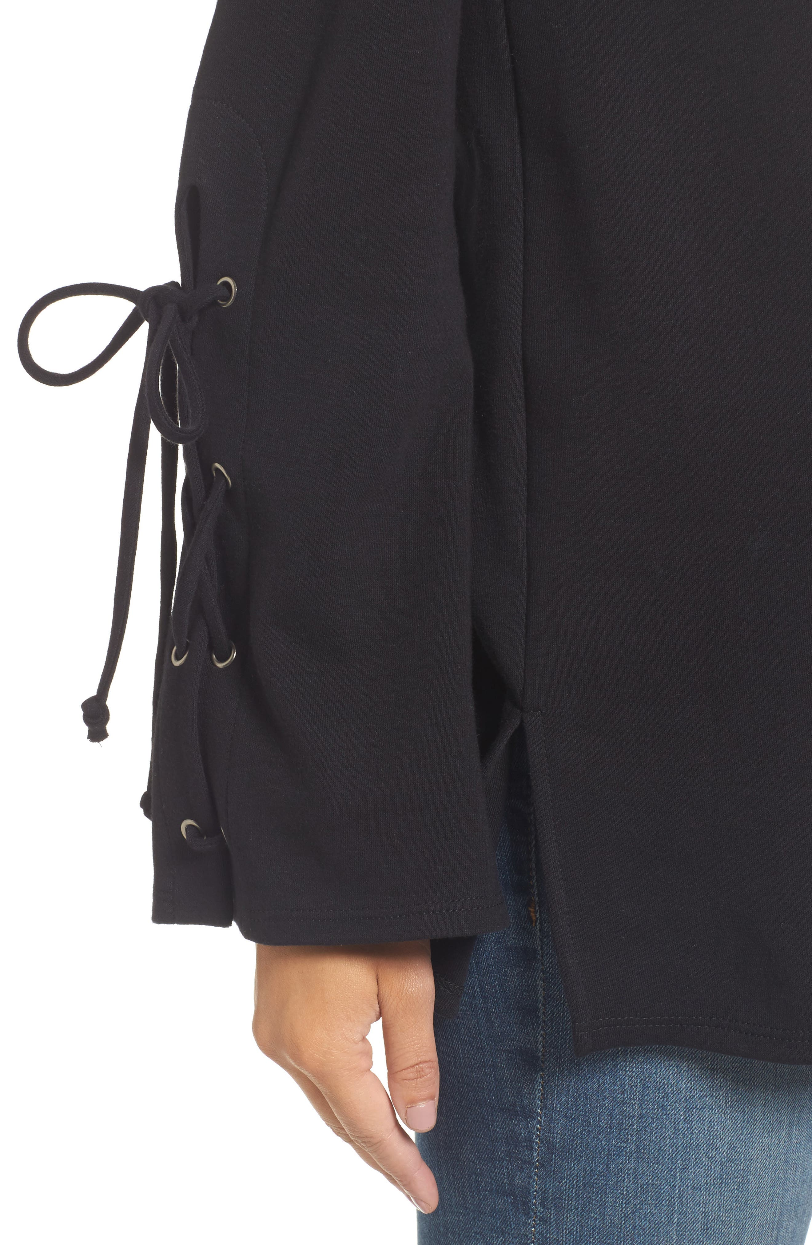 Terry Tie Sleeve Tunic,                             Alternate thumbnail 4, color,                             001
