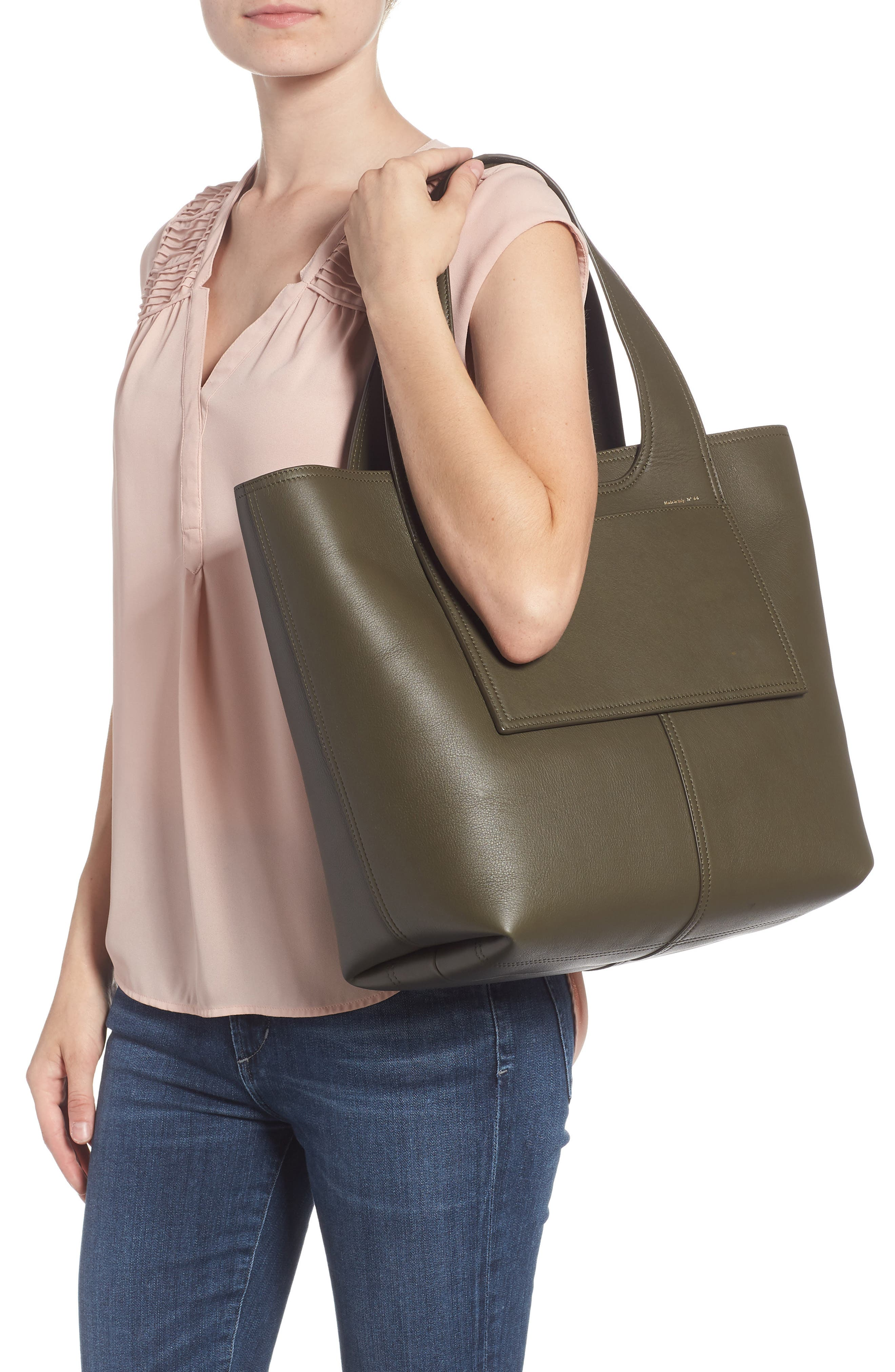 Apron Leather Tote,                             Alternate thumbnail 2, color,                             DARK GREEN
