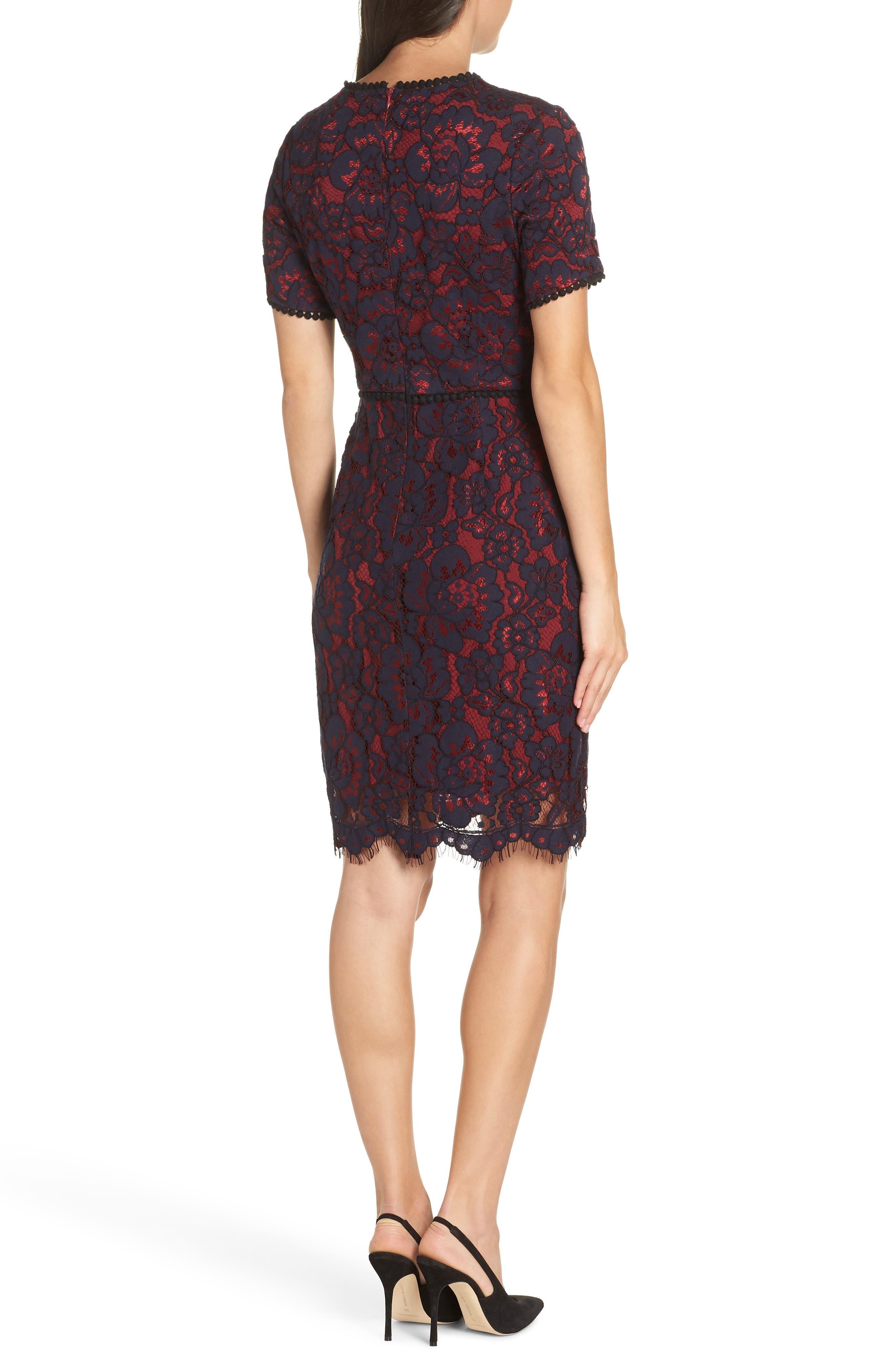 Lace Sheath Dress,                             Alternate thumbnail 2, color,                             NAVY/ WINE LACE