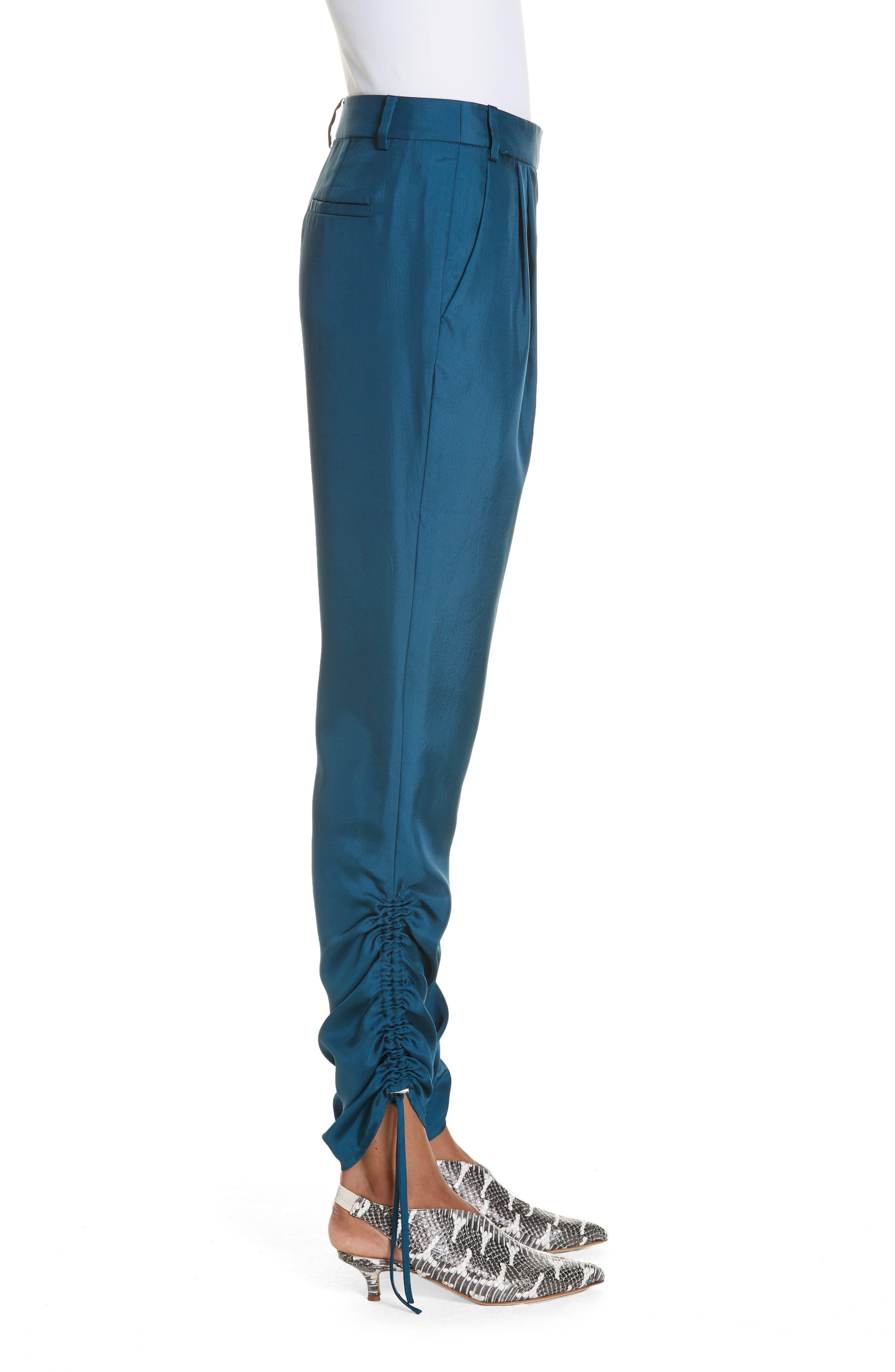 Mendini Twill Shirred Pants,                             Alternate thumbnail 3, color,                             TEAL BLUE