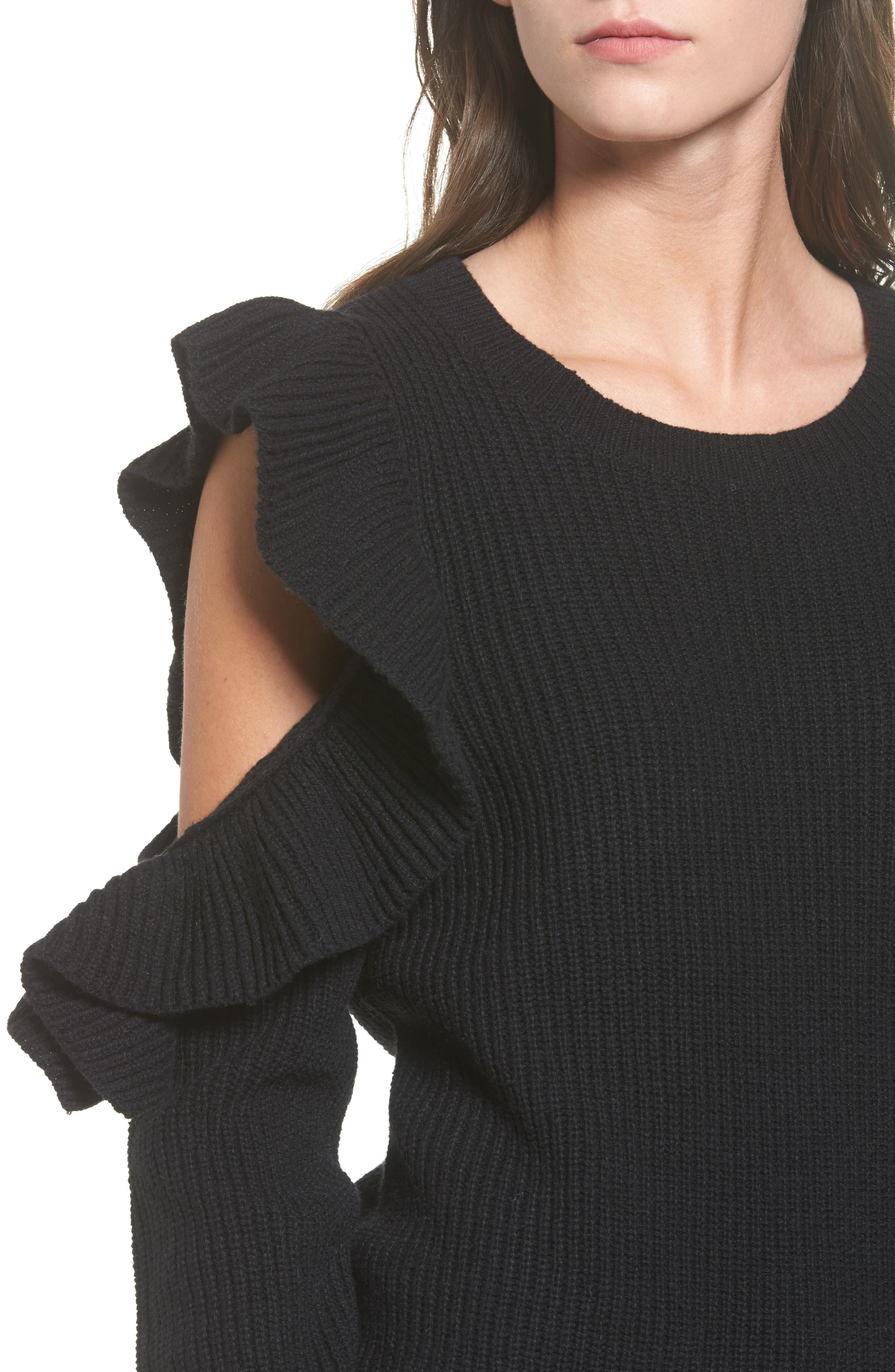 Ruffle Cold Shoulder Sweater,                             Alternate thumbnail 4, color,                             001