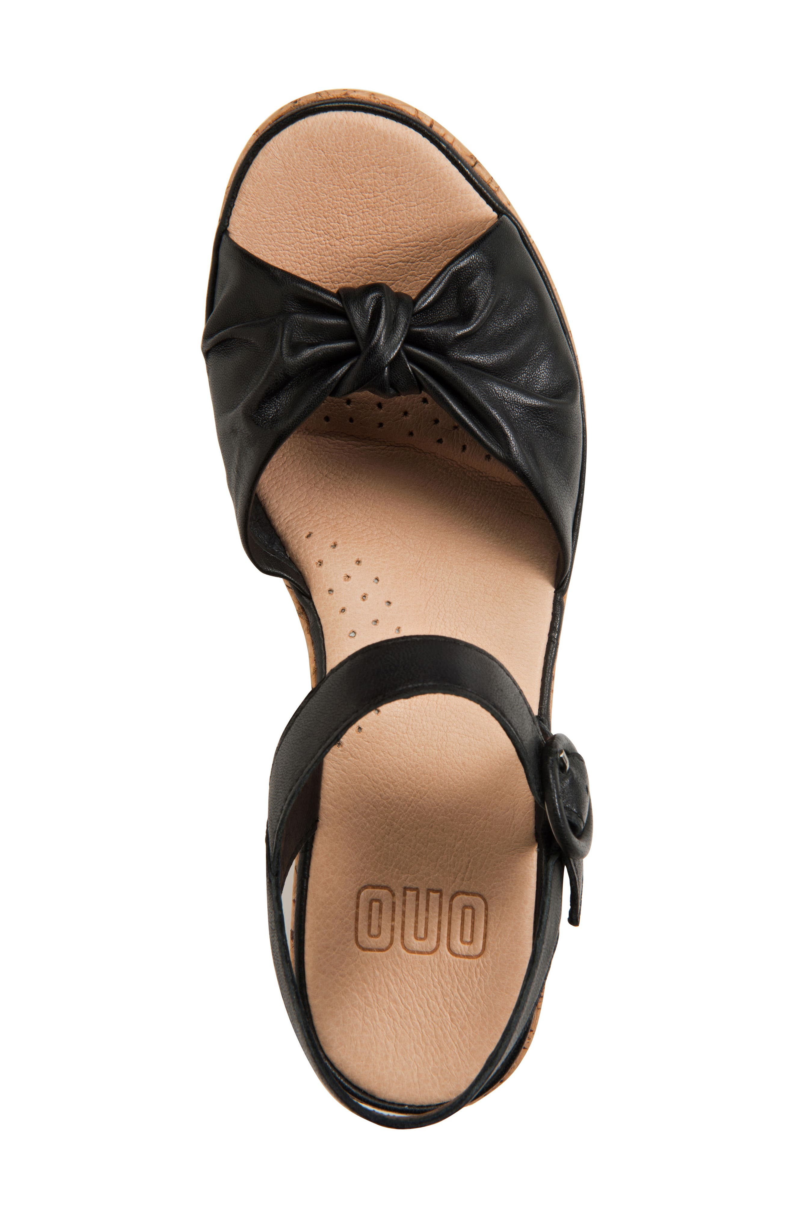 Heavenly Platform Wedge Sandal,                             Alternate thumbnail 5, color,                             BLACK LEATHER