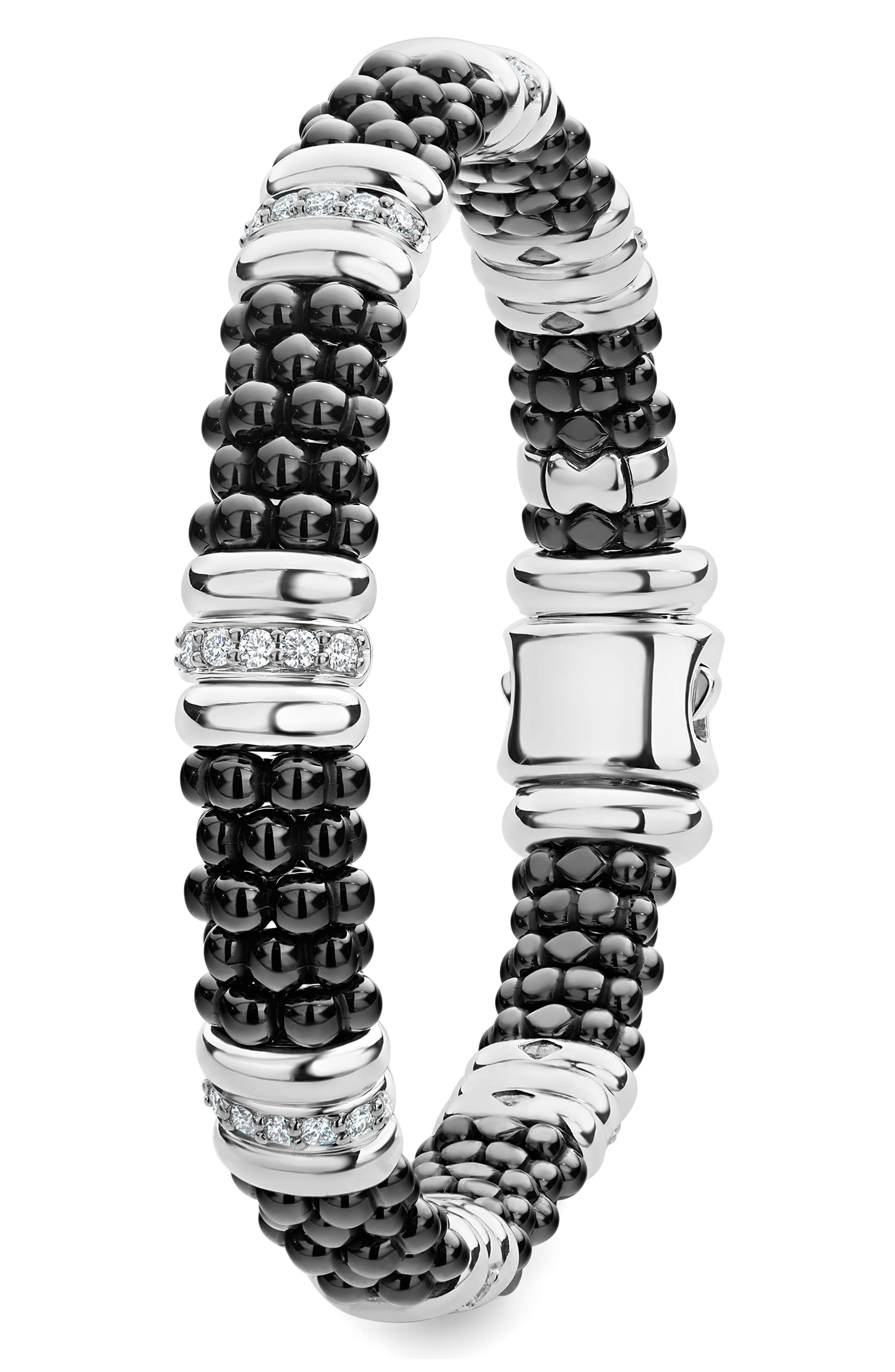 LAOGS Black Caviar Diamond 7-Link Bracelet,                             Alternate thumbnail 5, color,                             SILVER