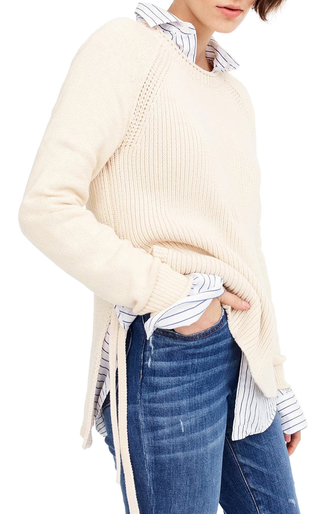 Side Tie Crewneck Sweater,                             Alternate thumbnail 3, color,
