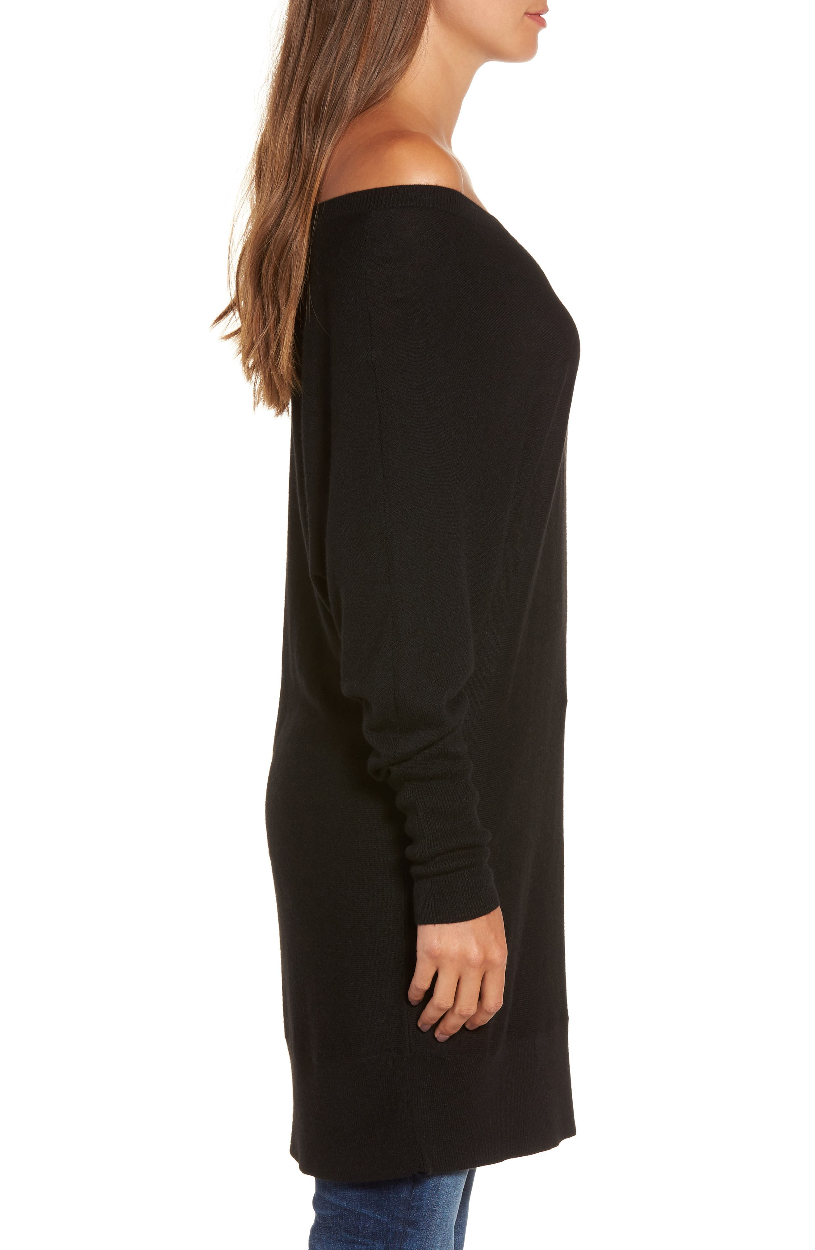 Off the Shoulder Sweater Tunic,                             Alternate thumbnail 3, color,                             001