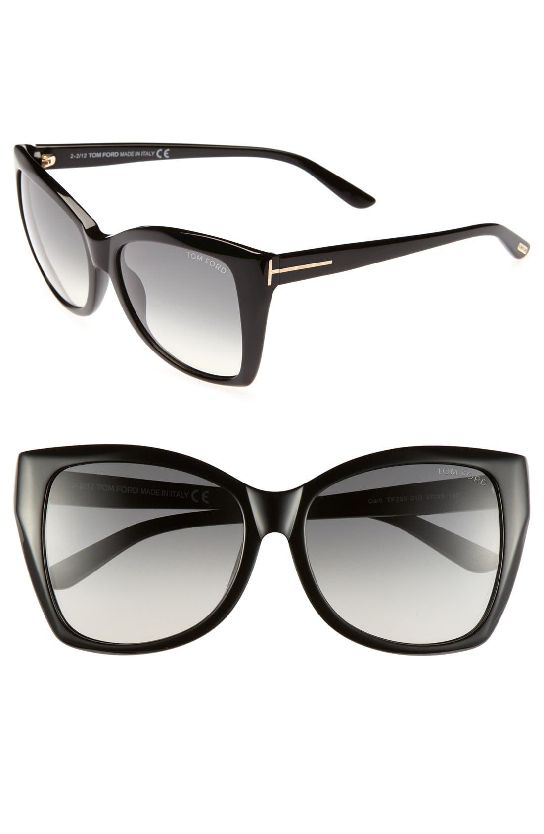 'Carli' 57mm Sunglasses,                             Main thumbnail 1, color,                             001