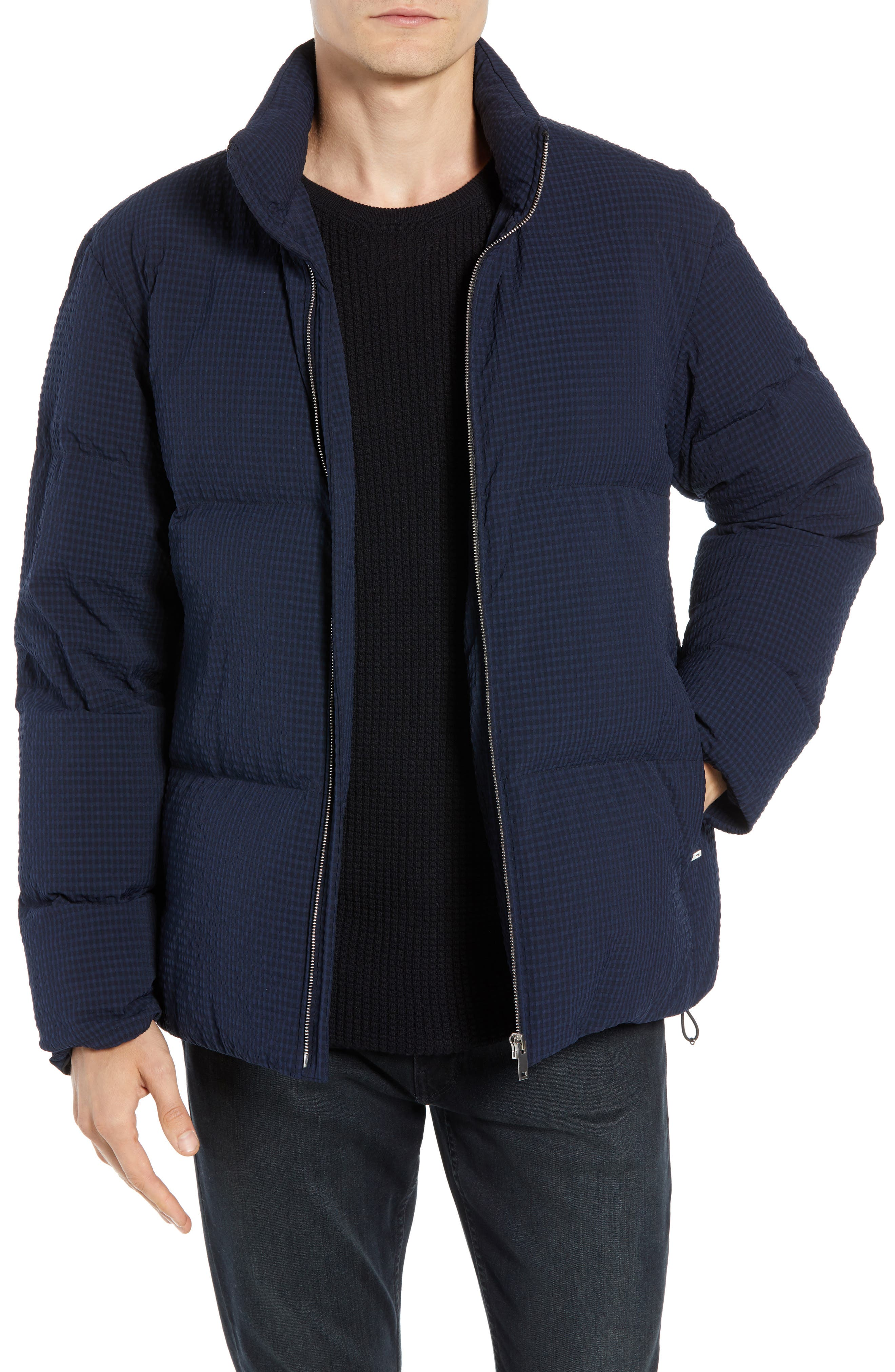 Fulton 3 Regular Fit Seersucker Puffer Jacket,                             Main thumbnail 1, color,                             ECLIPSE MULTI