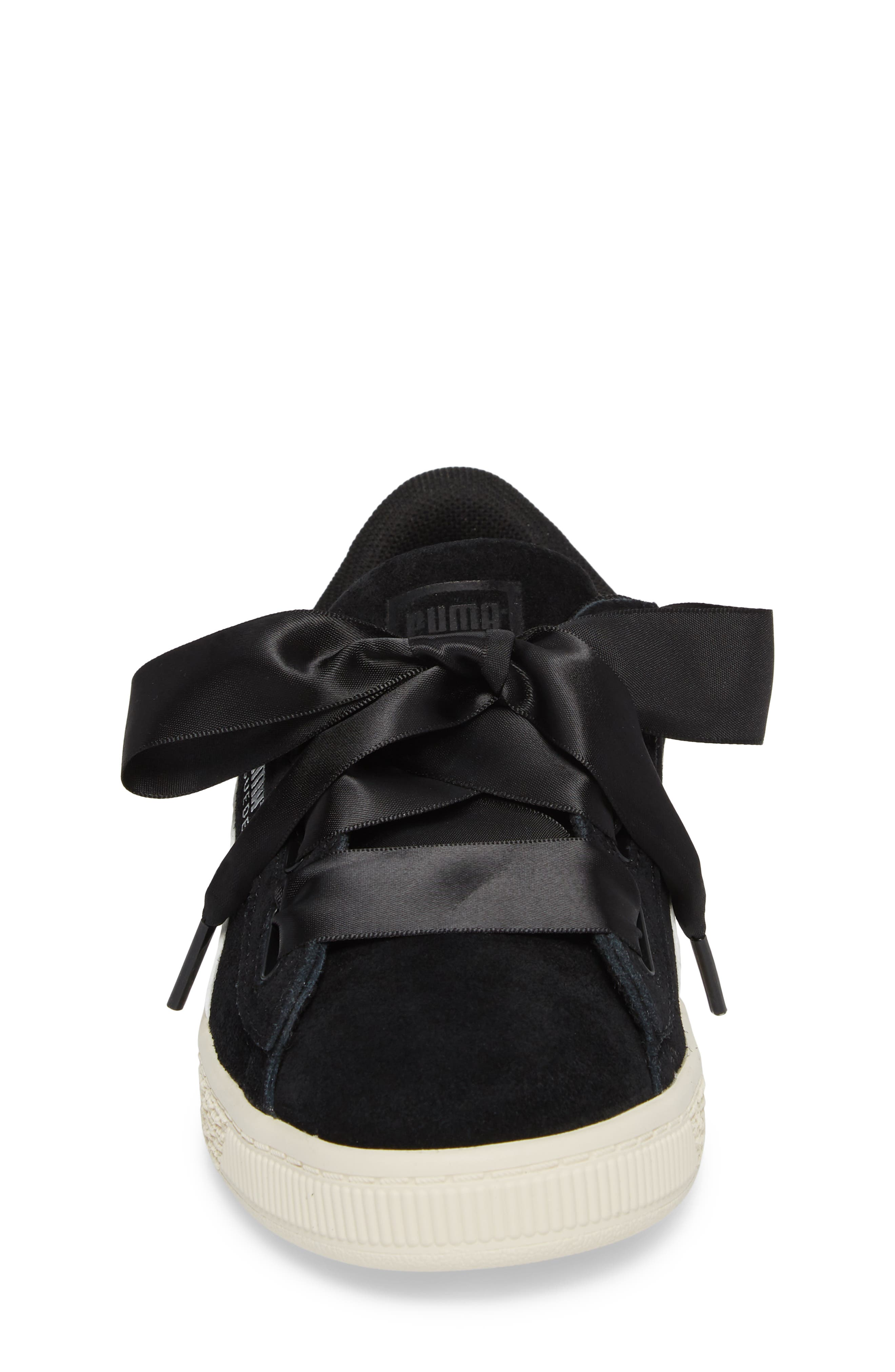 Suede Heart Sneaker,                             Alternate thumbnail 4, color,                             001