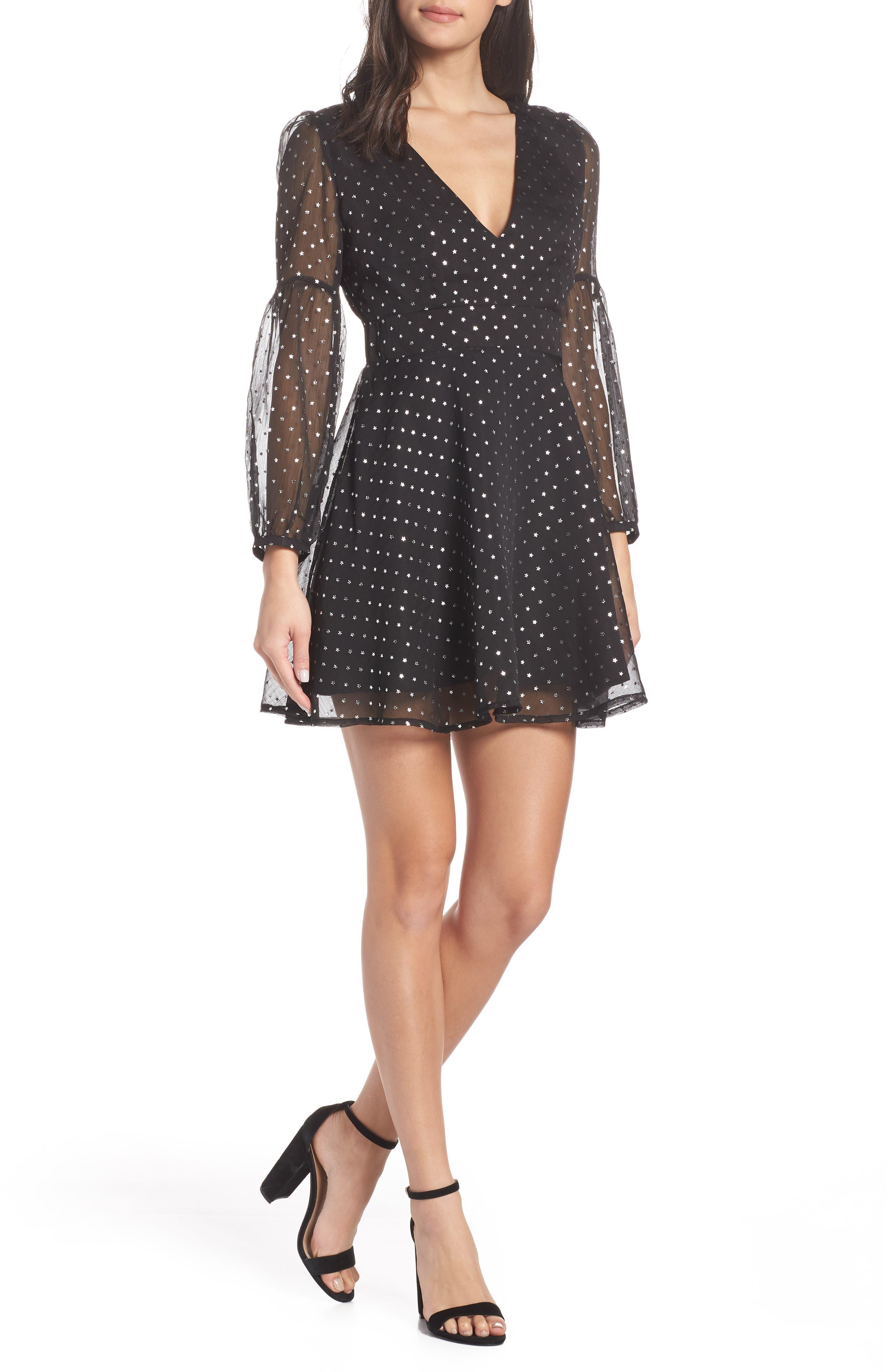 Bb Dakota Star Foil Minidress, Black