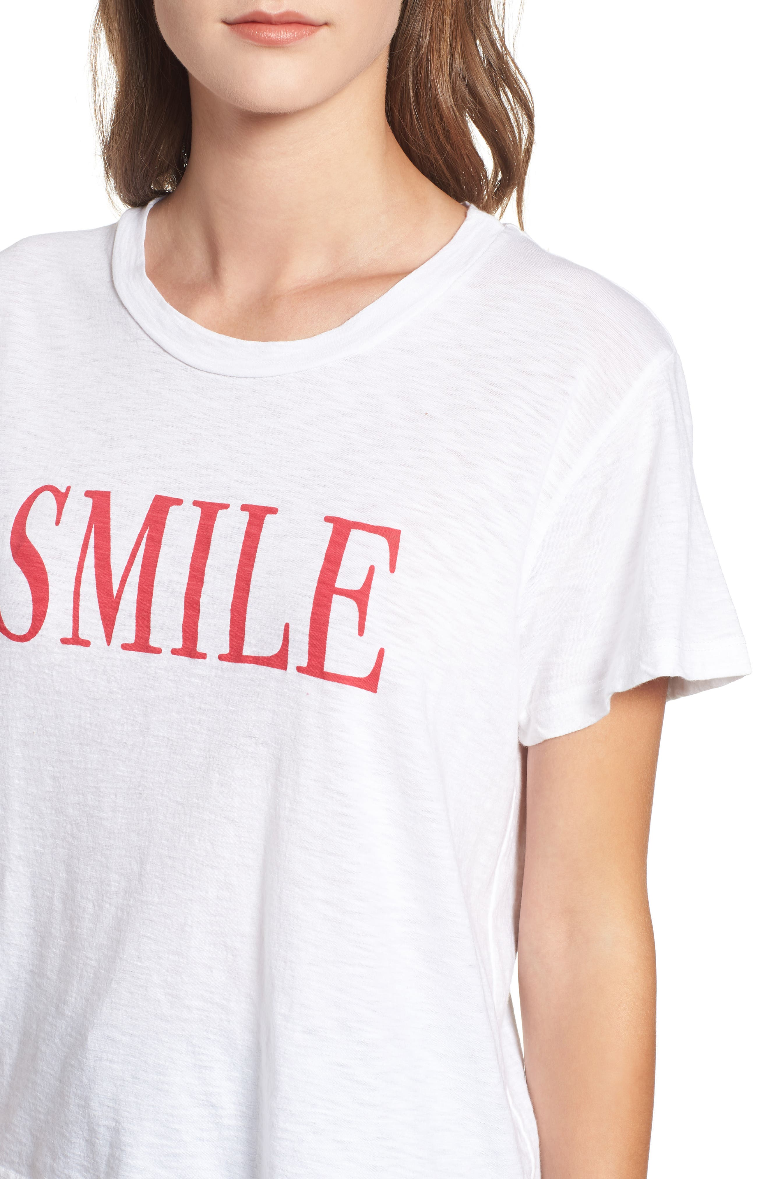SUNDRY,                             Smile Boxy Cotton Tee,                             Alternate thumbnail 4, color,                             100
