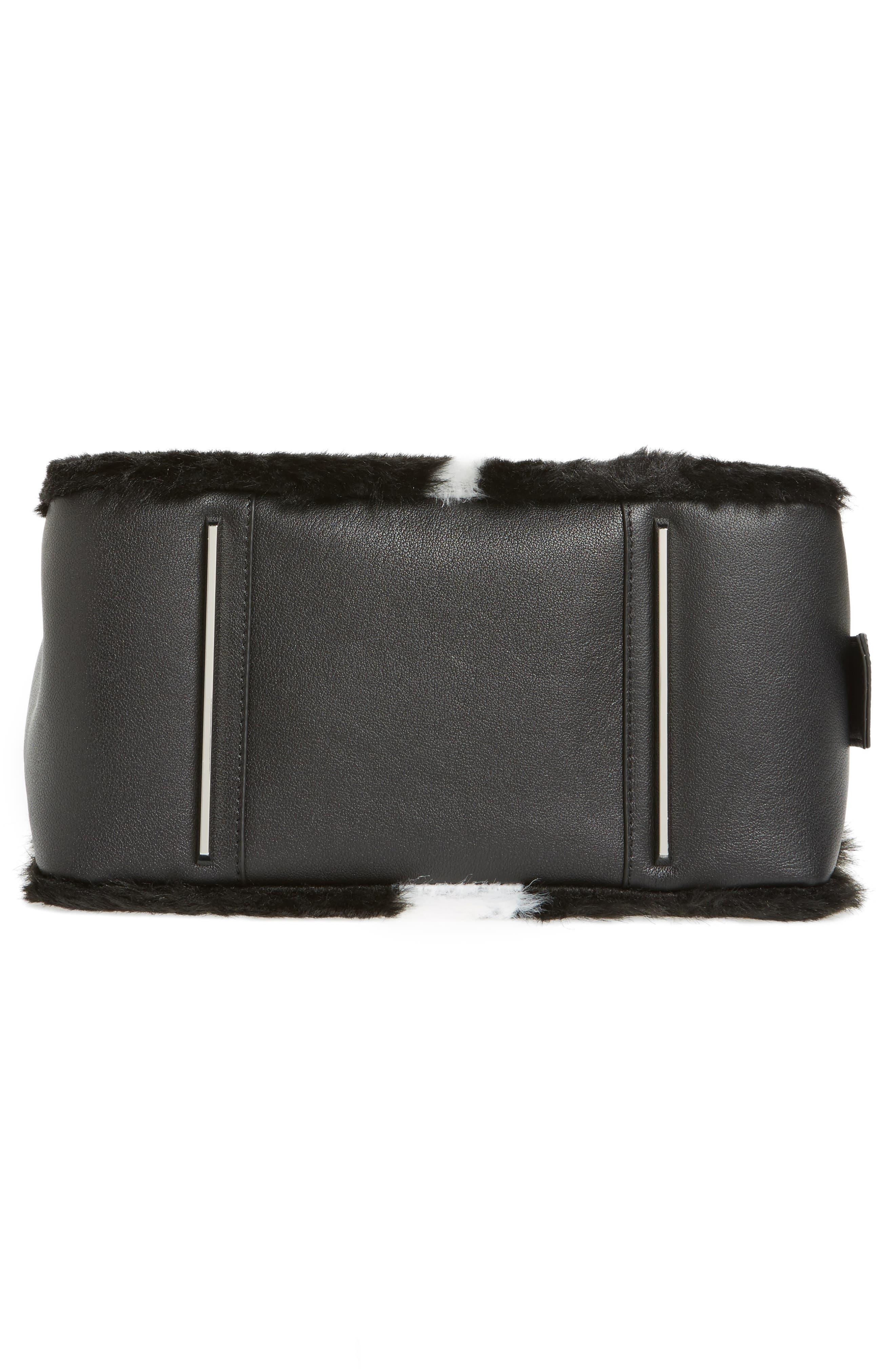 Claire Faux Fur & Leather Satchel,                             Alternate thumbnail 6, color,                             001