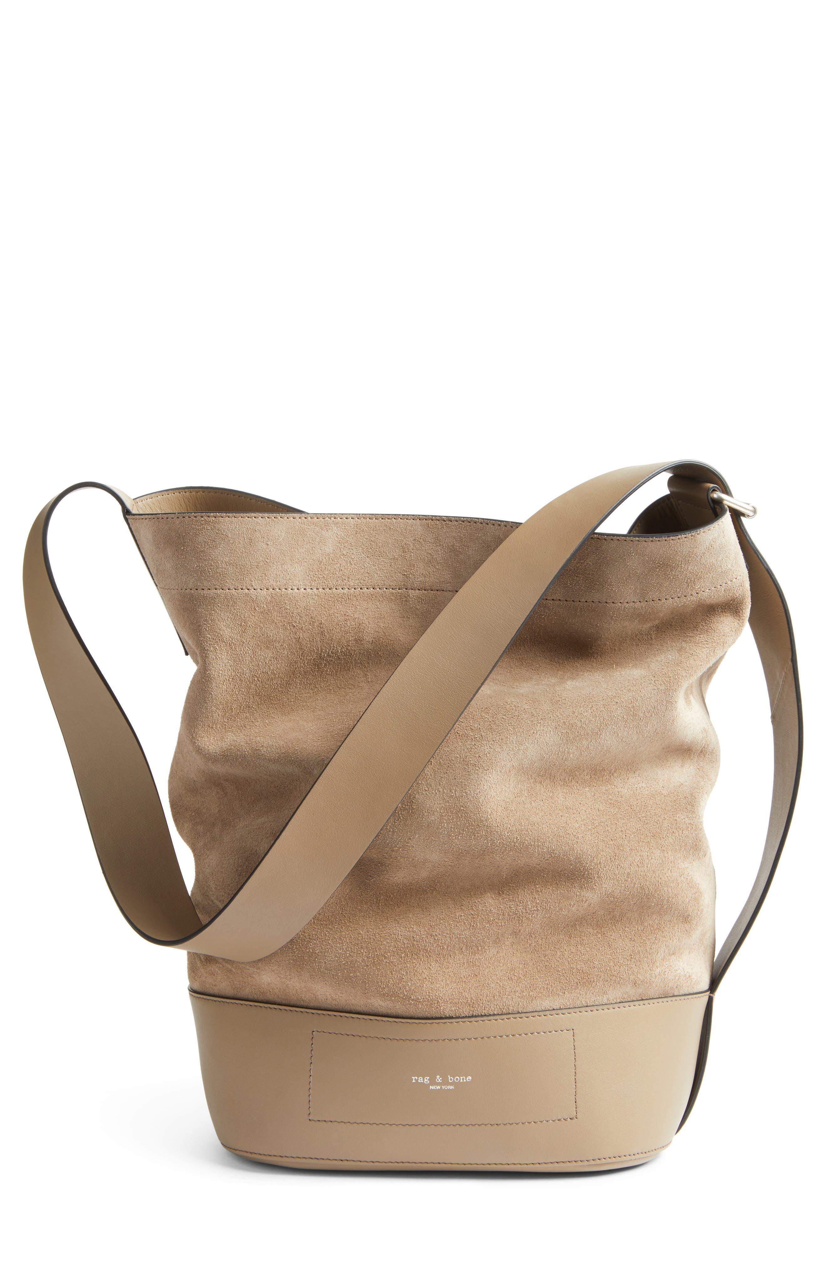rag and bone Walker Sling Leather & Suede Bucket Bag,                             Main thumbnail 1, color,                             099