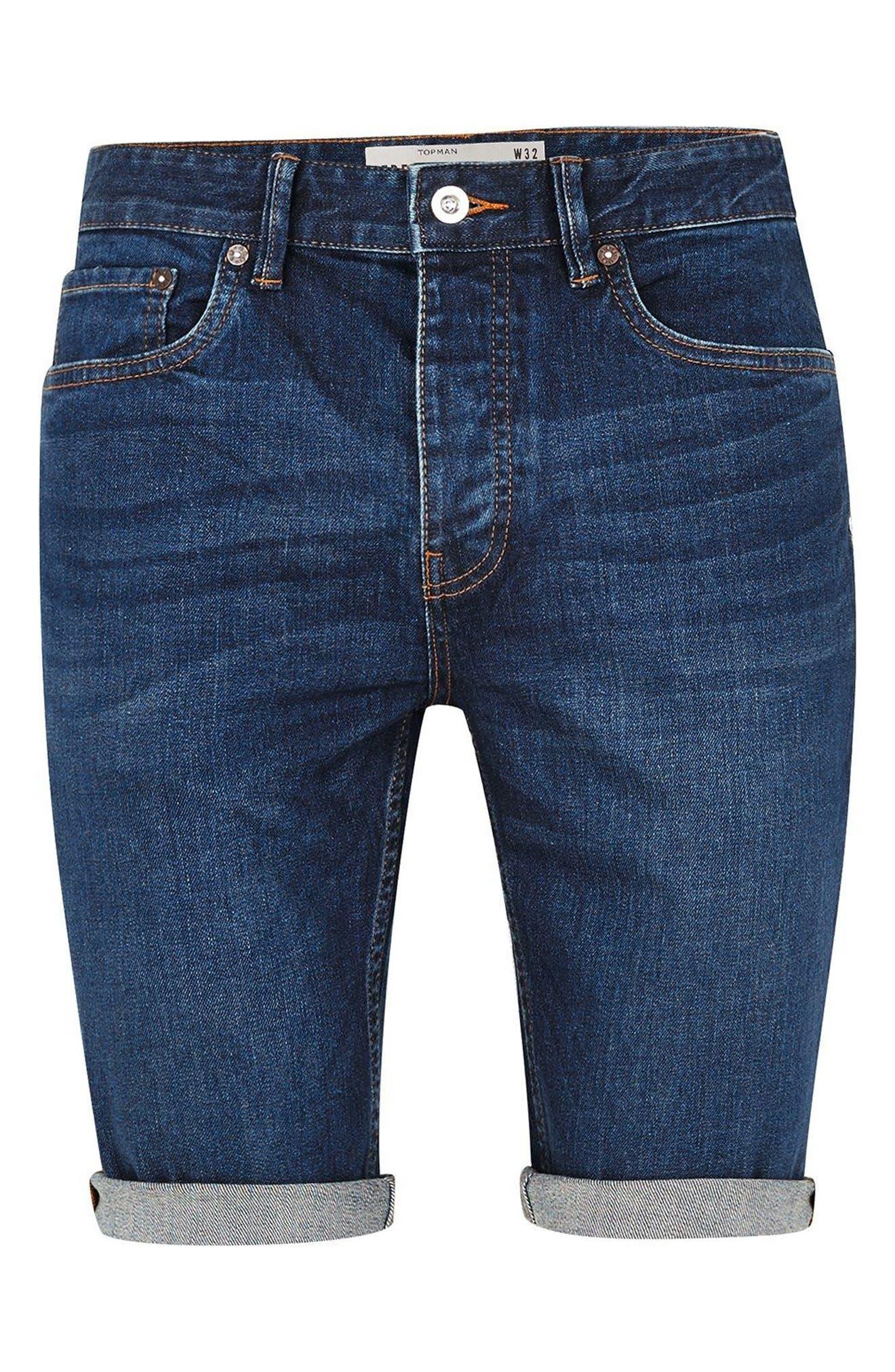 Skinny Fit Denim Shorts,                             Alternate thumbnail 4, color,                             BLUE