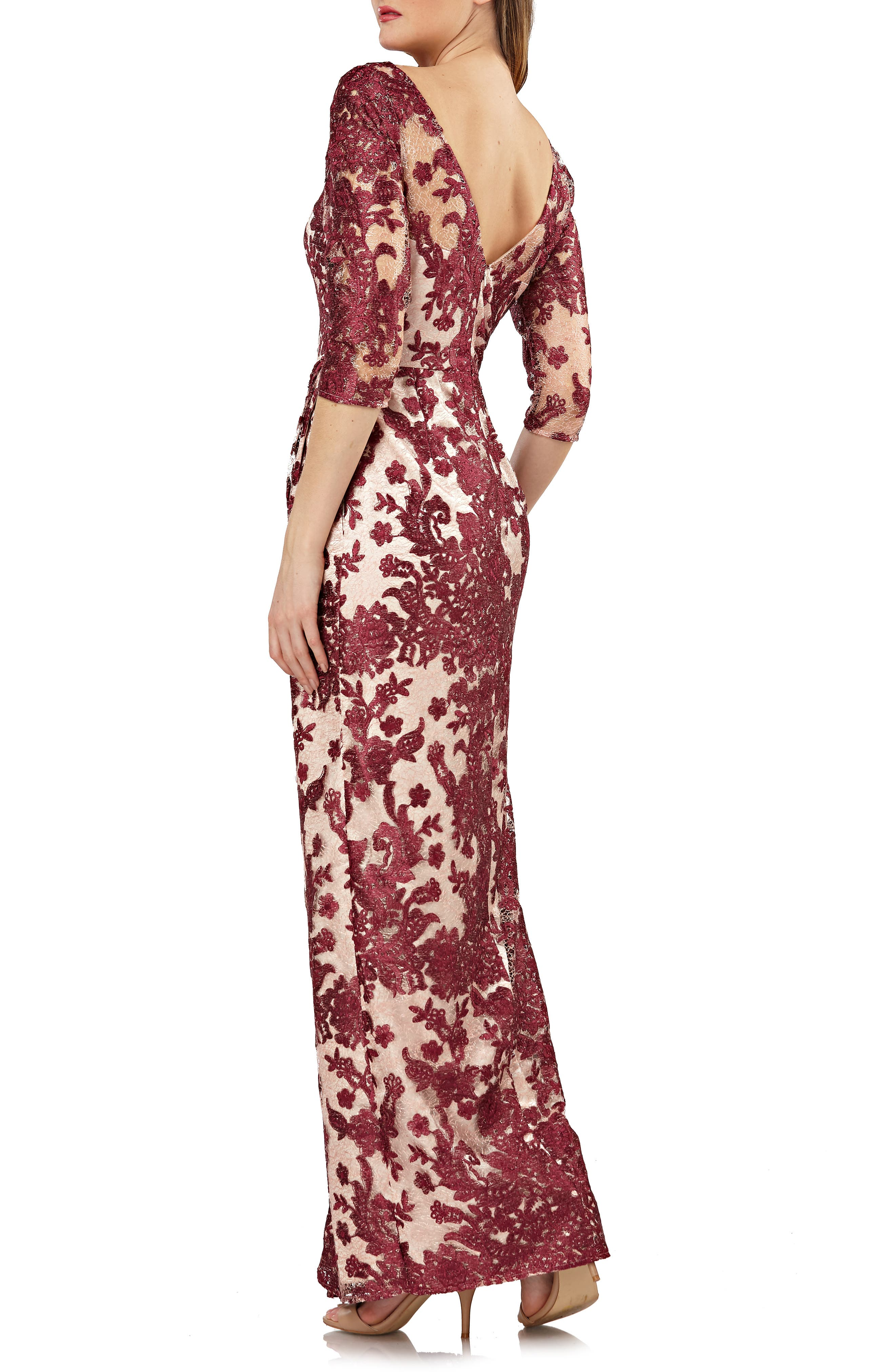 Embroidered Lace Gown,                             Alternate thumbnail 2, color,                             WINE/ ROSE