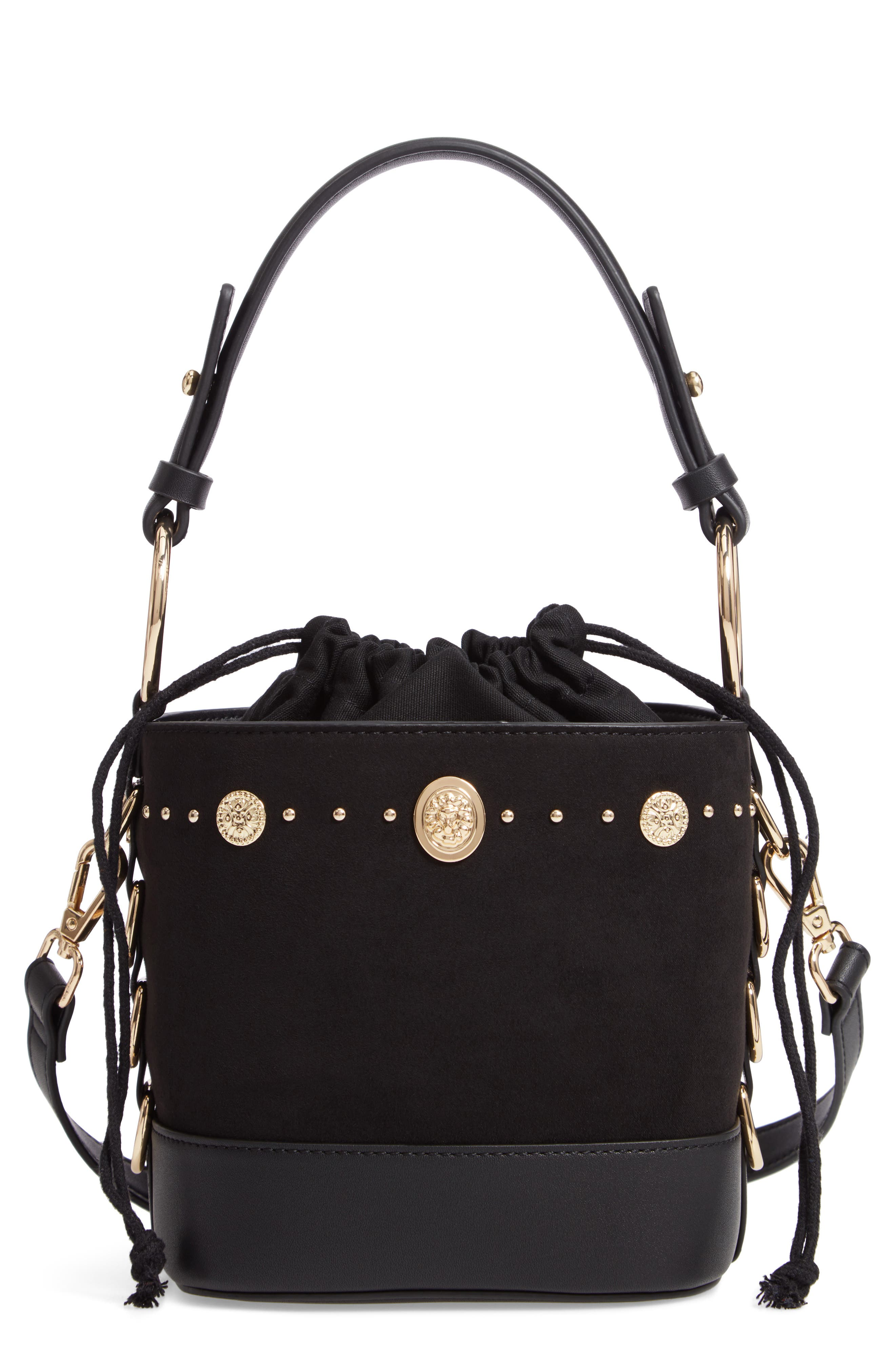 Bianca Studded Faux Leather Bucket Bag,                             Main thumbnail 1, color,                             BLACK MULTI