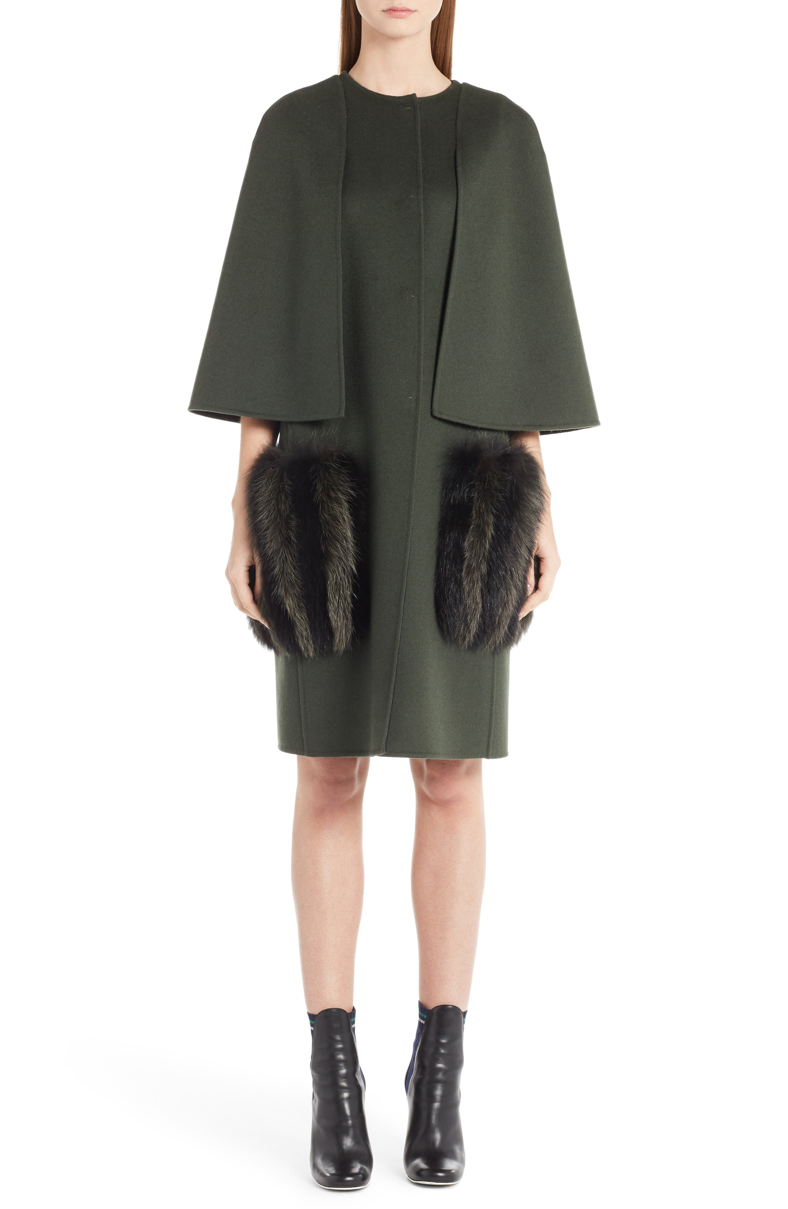 Wool Cape Coat with Genuine Fox Fur Pockets,                         Main,                         color,